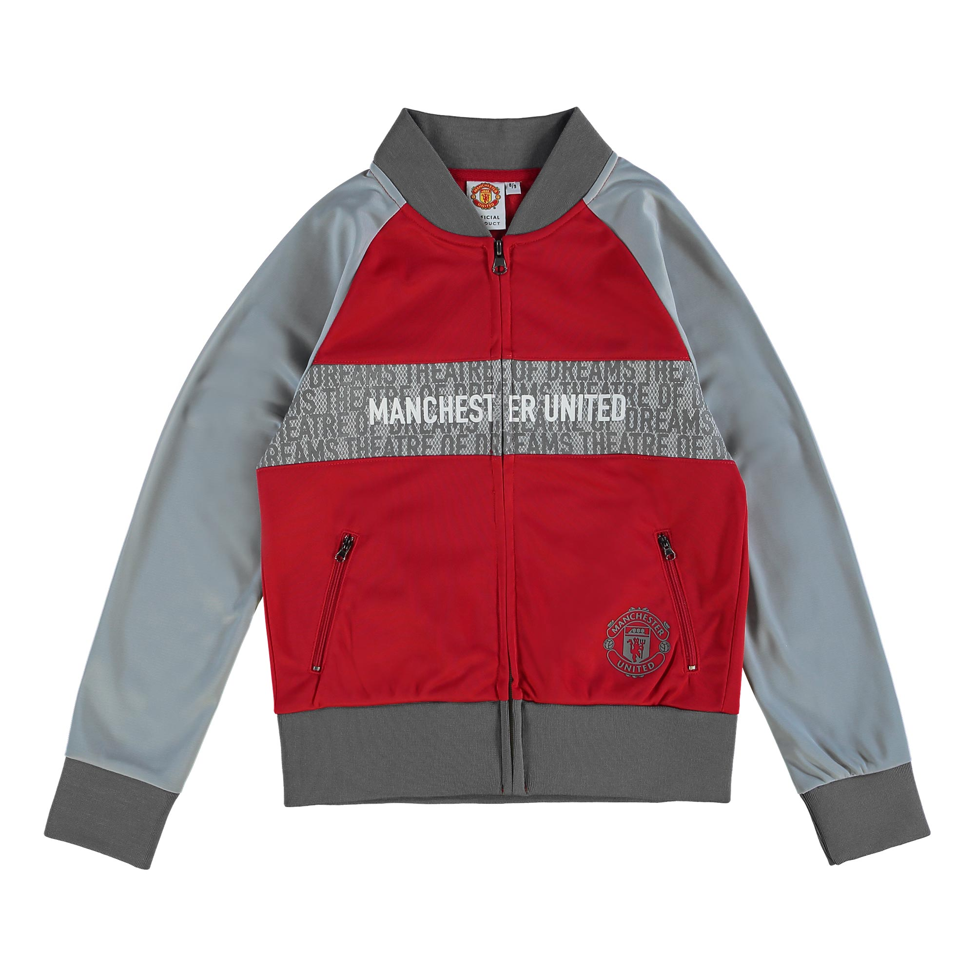 Manchester United Track Jacket - Red/Grey - Girls