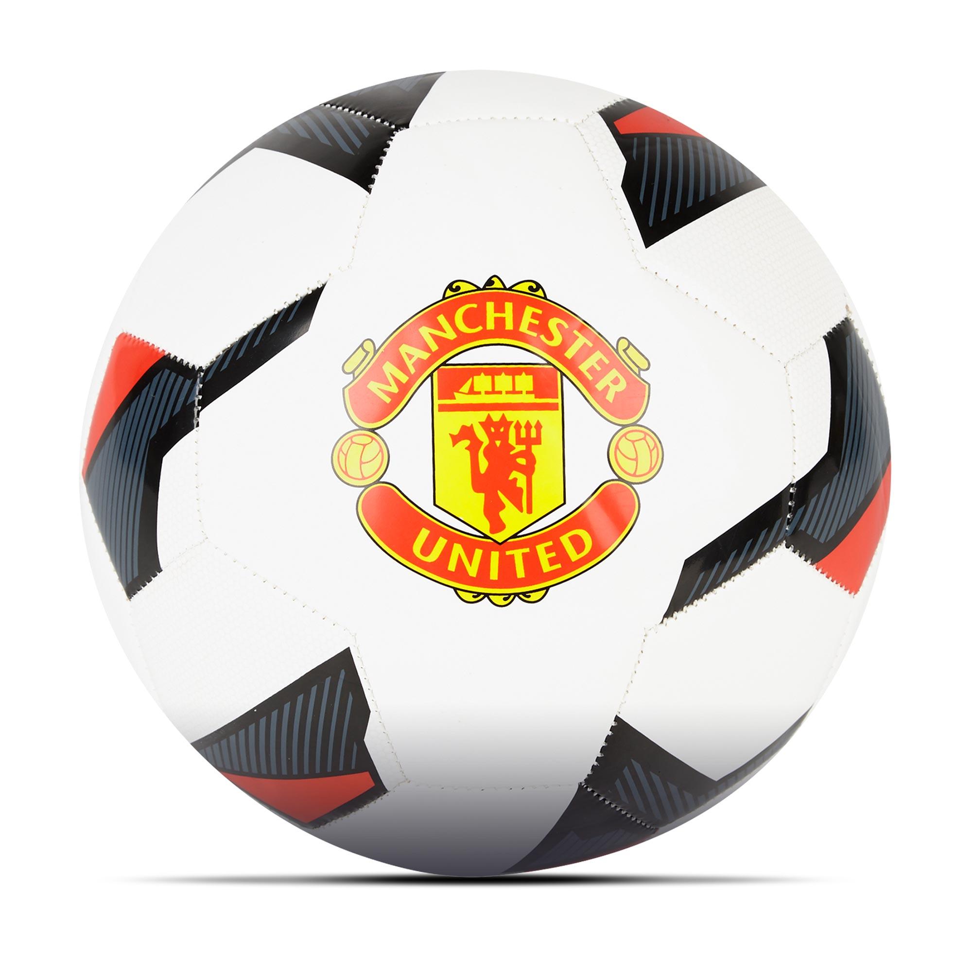 Ballon de football avec grand écusson Manchester United - Blanc/Noir -