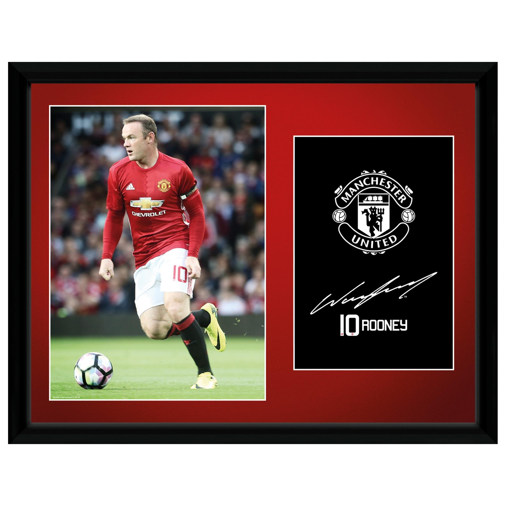 Manchester United 16-17 Rooney Framed Print 16 x 12