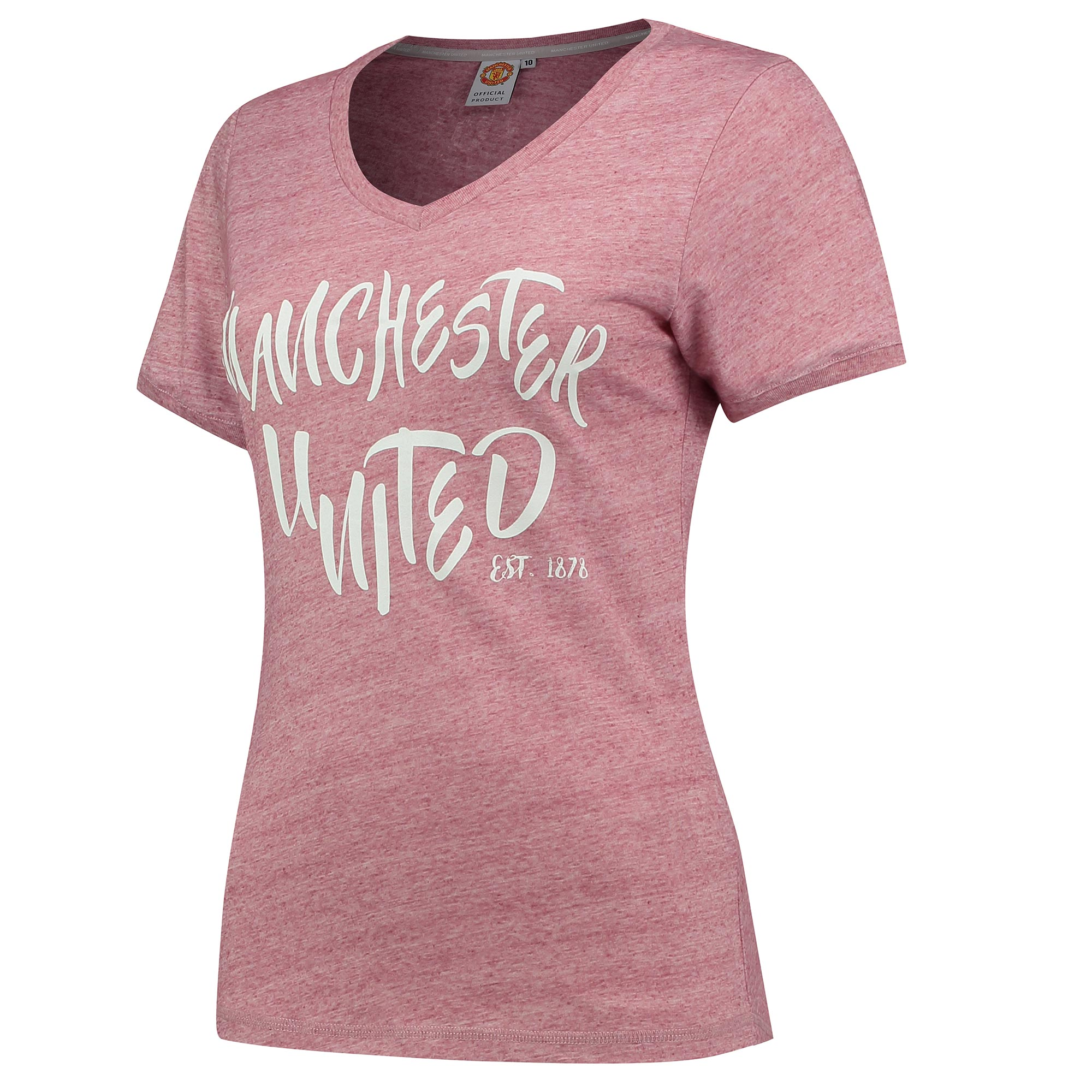 Manchester United Casual V Neck T-Shirt - Pink - Womens