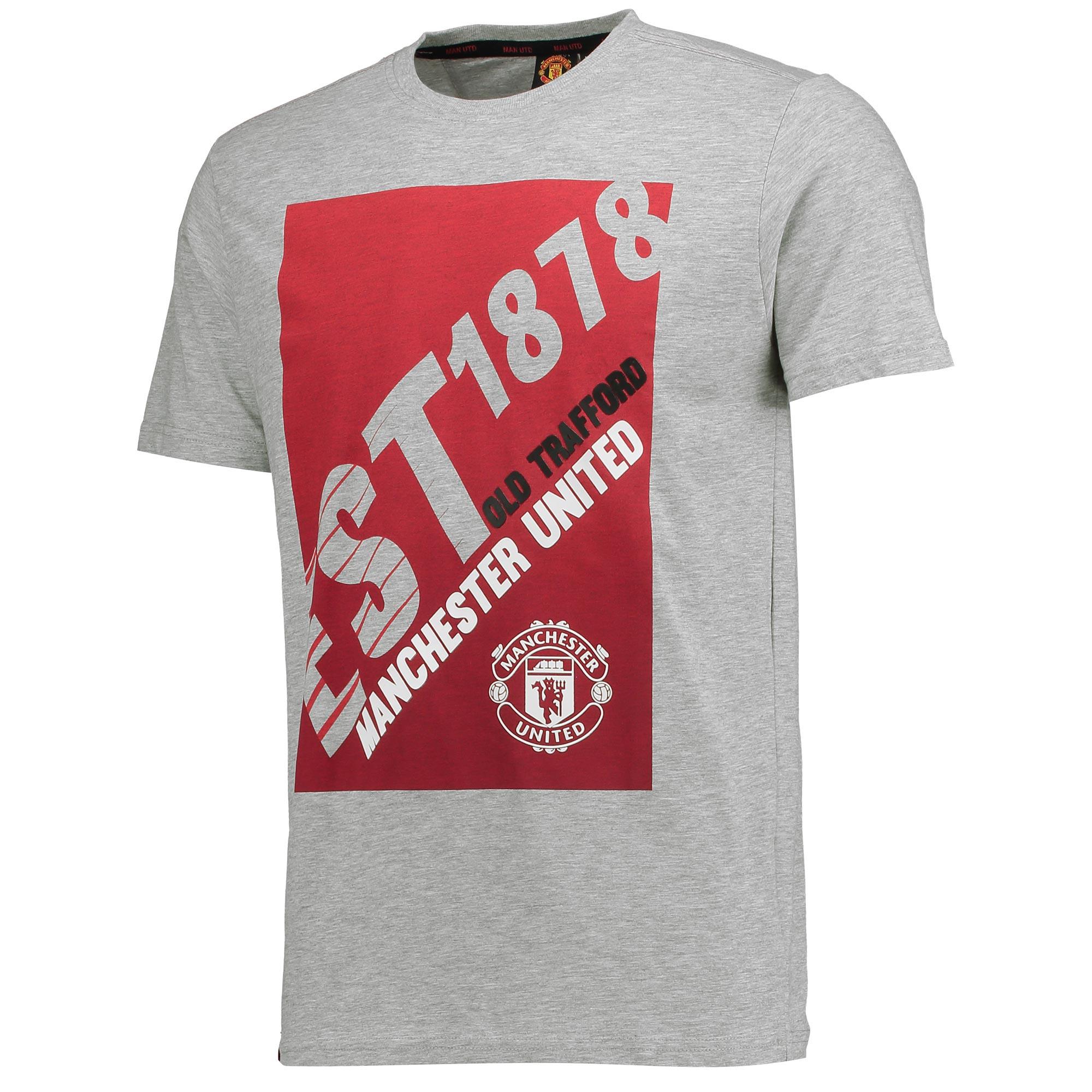 Manchester United Essential Est 1878 T-Shirt - Grey - Mens