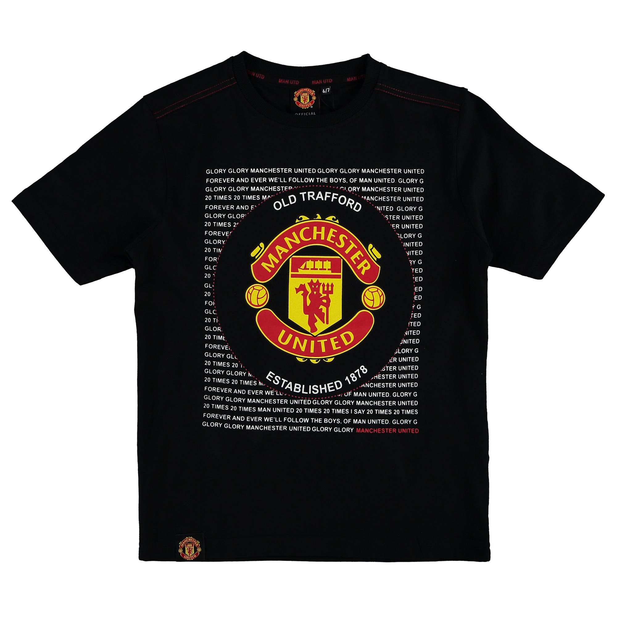 Manchester United Essential Crest T-Shirt - Black - Kids
