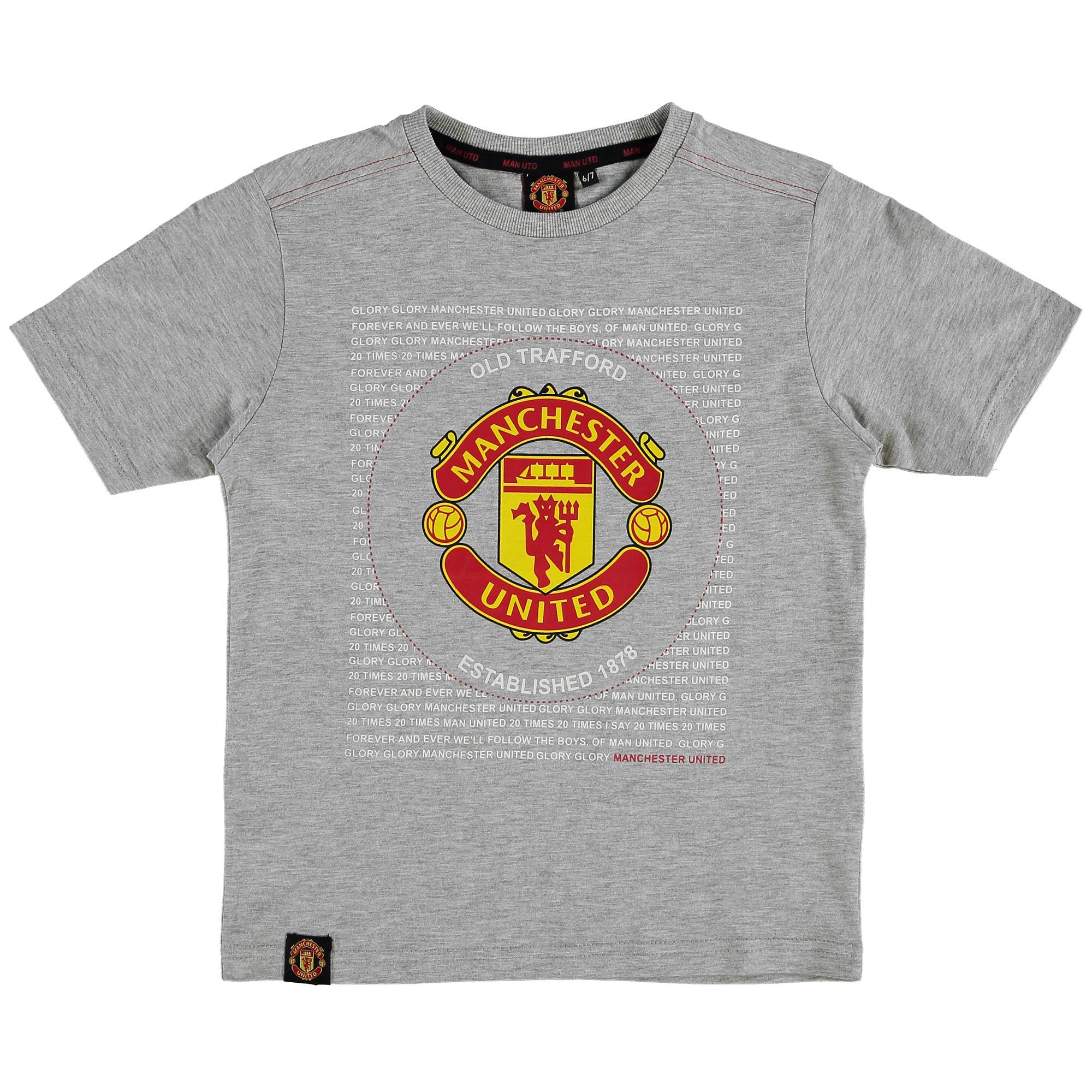 Manchester United Essential Crest T-Shirt - Grey - Kids