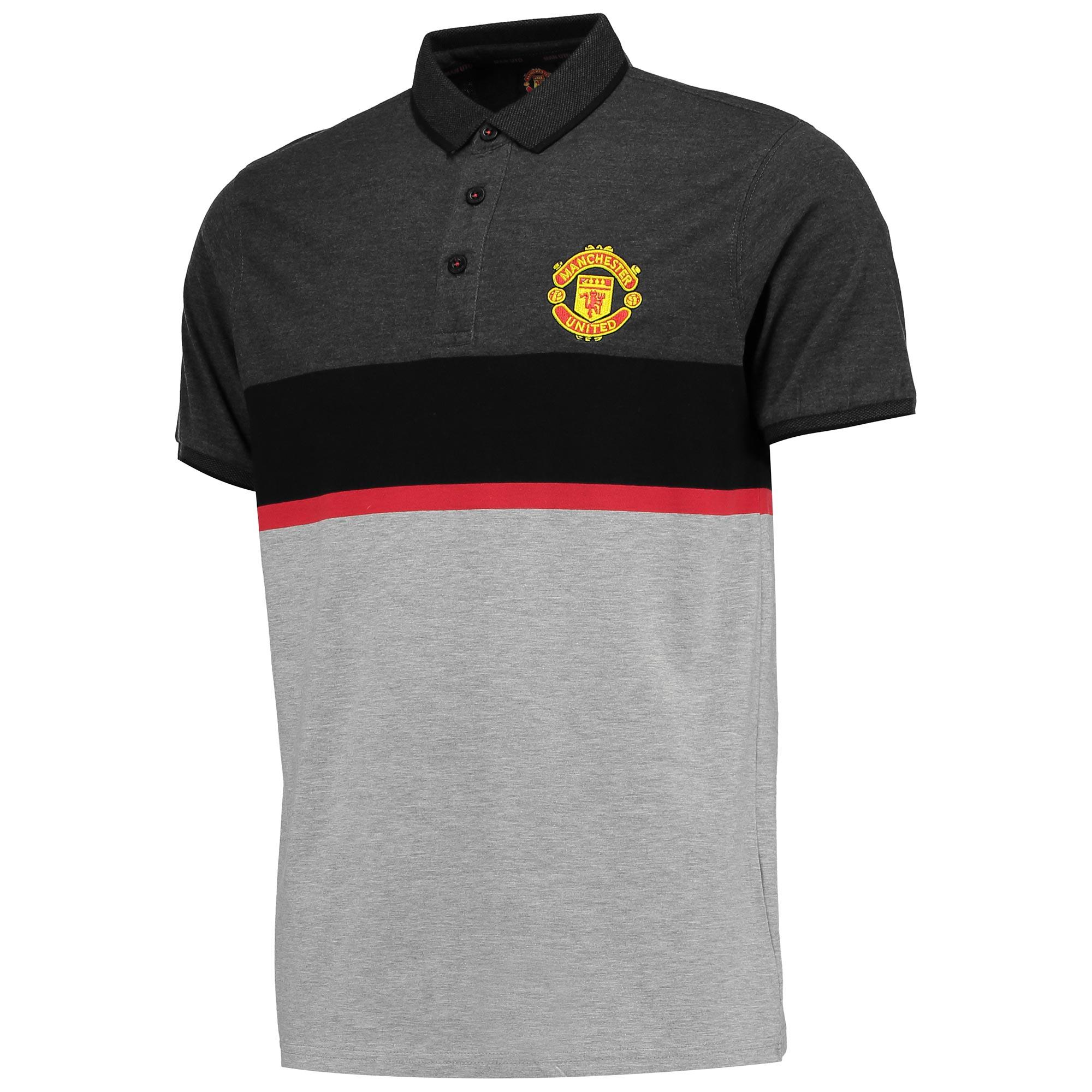 Manchester United Essential Stripe Block Polo Shirt - Grey - Mens