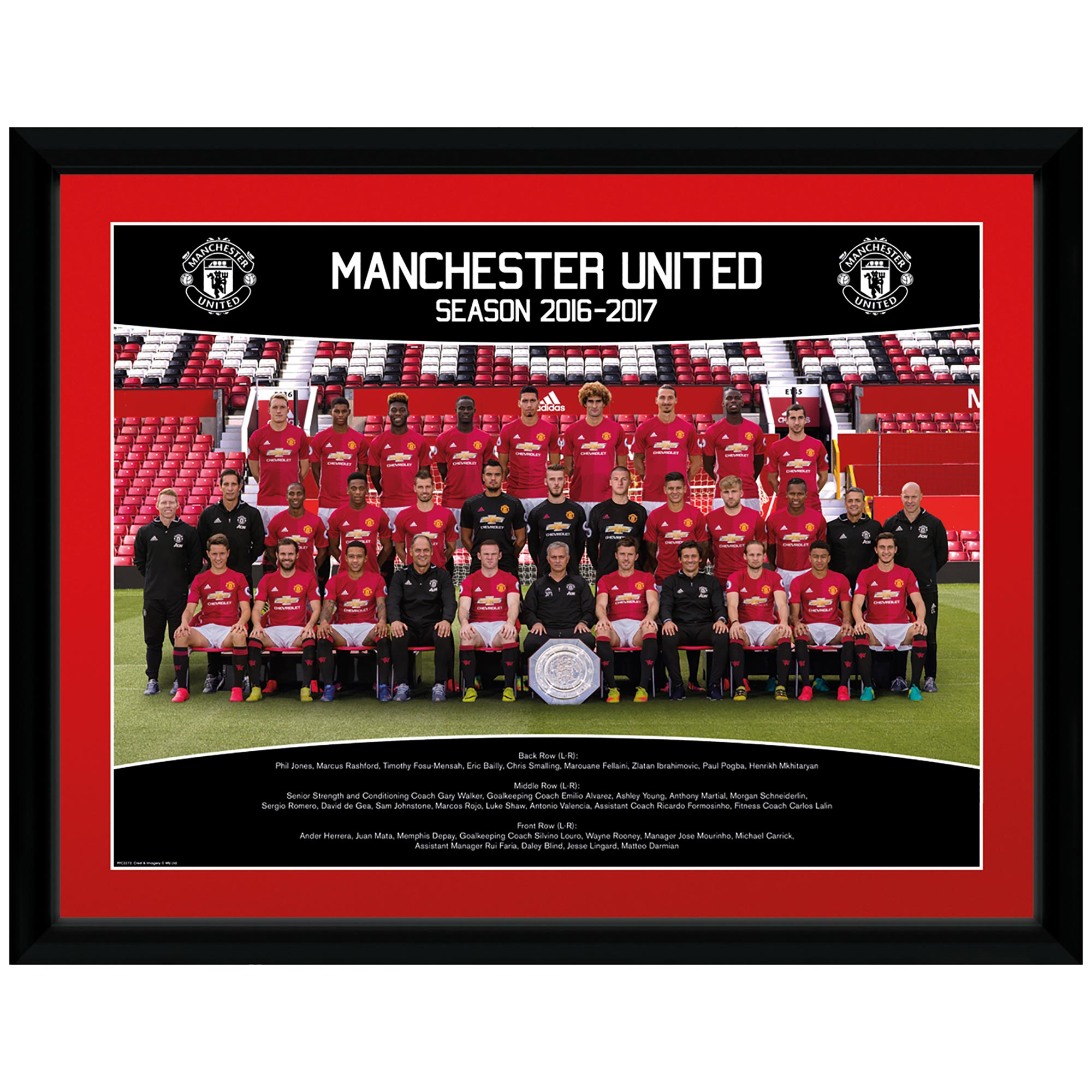 Manchester United 16-17 Team Framed Print 16 x 12