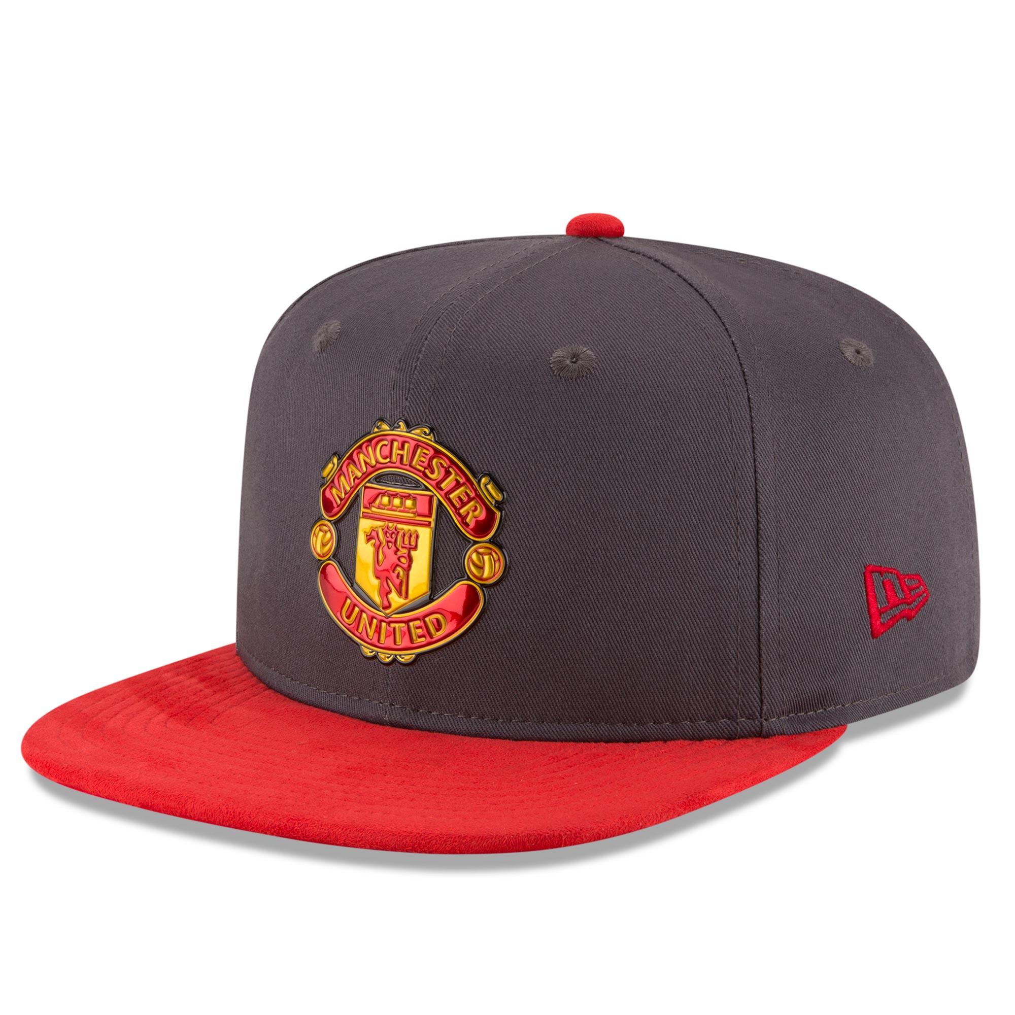 Manchester United New Era Suede Visor 9FIFTY Snapback Cap - Grey - Adu