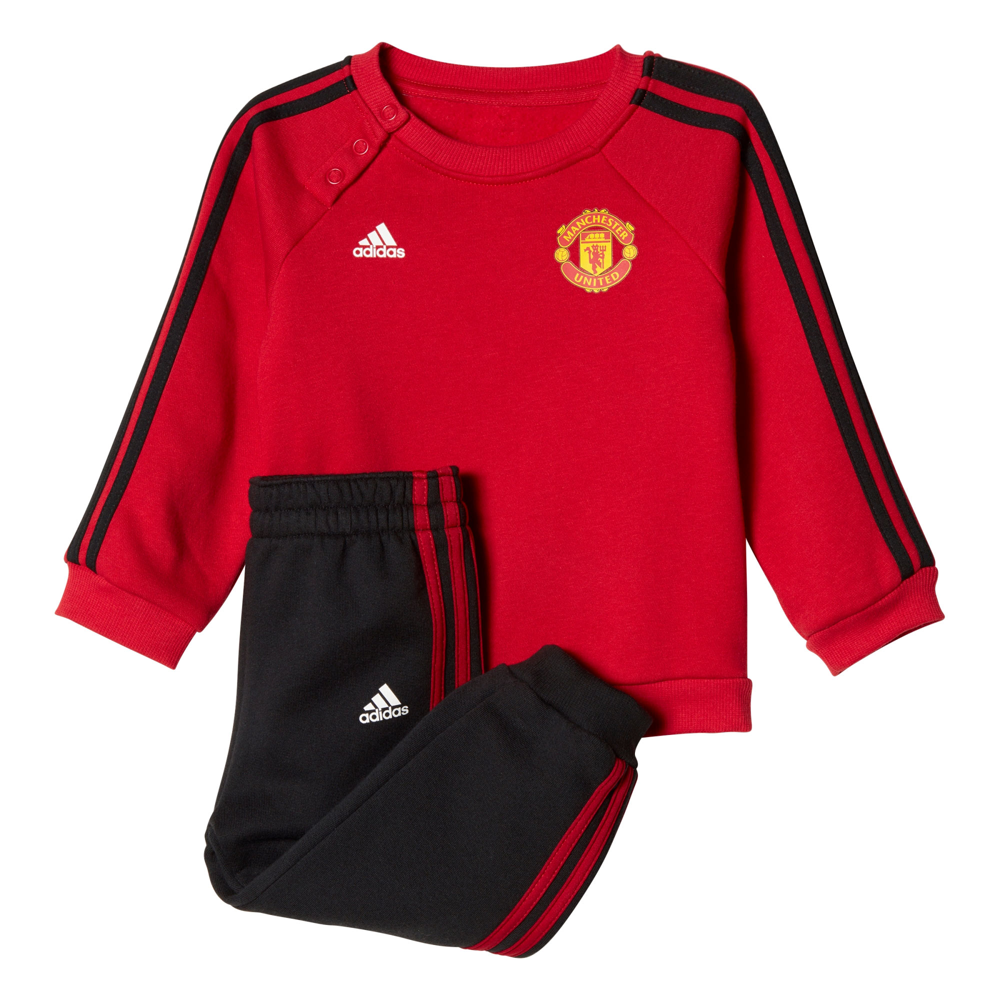 Manchester United 3 Stripe Baby Jog Suit - Red - Black