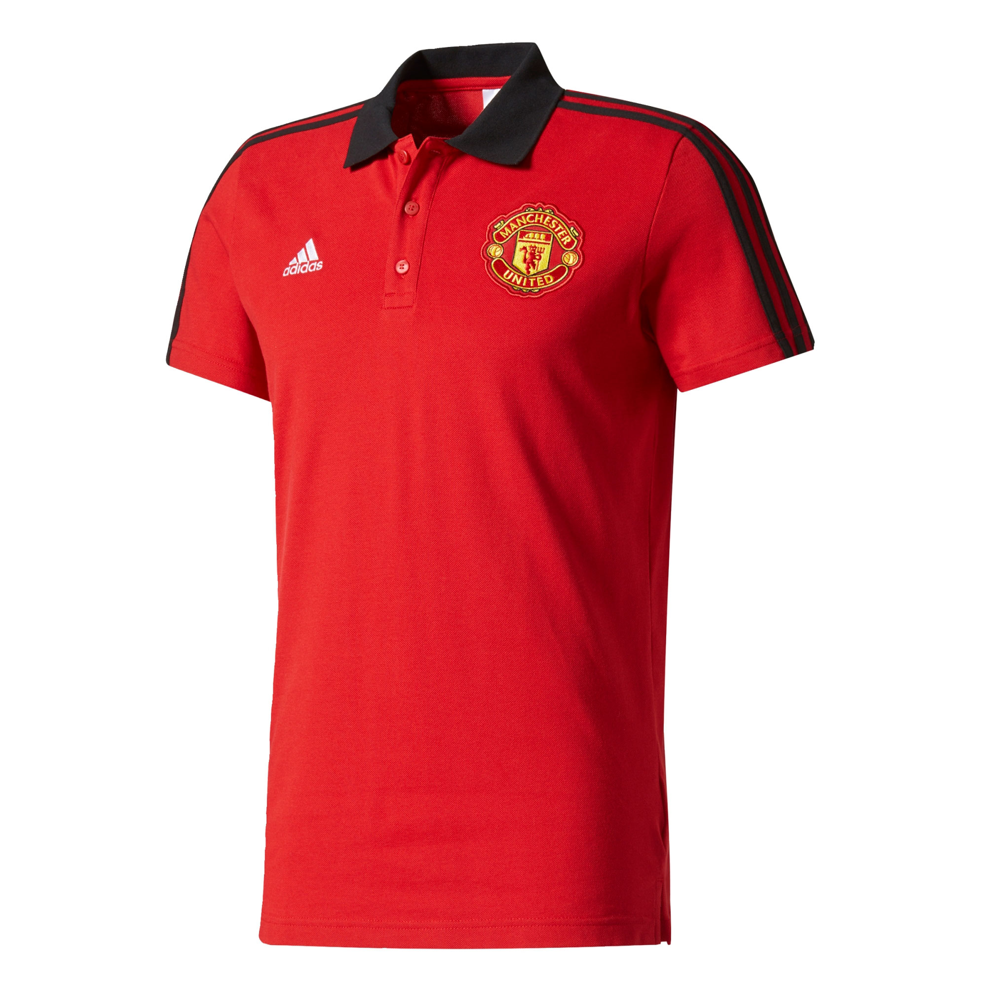 Manchester United 3 Stripe Polo - Red