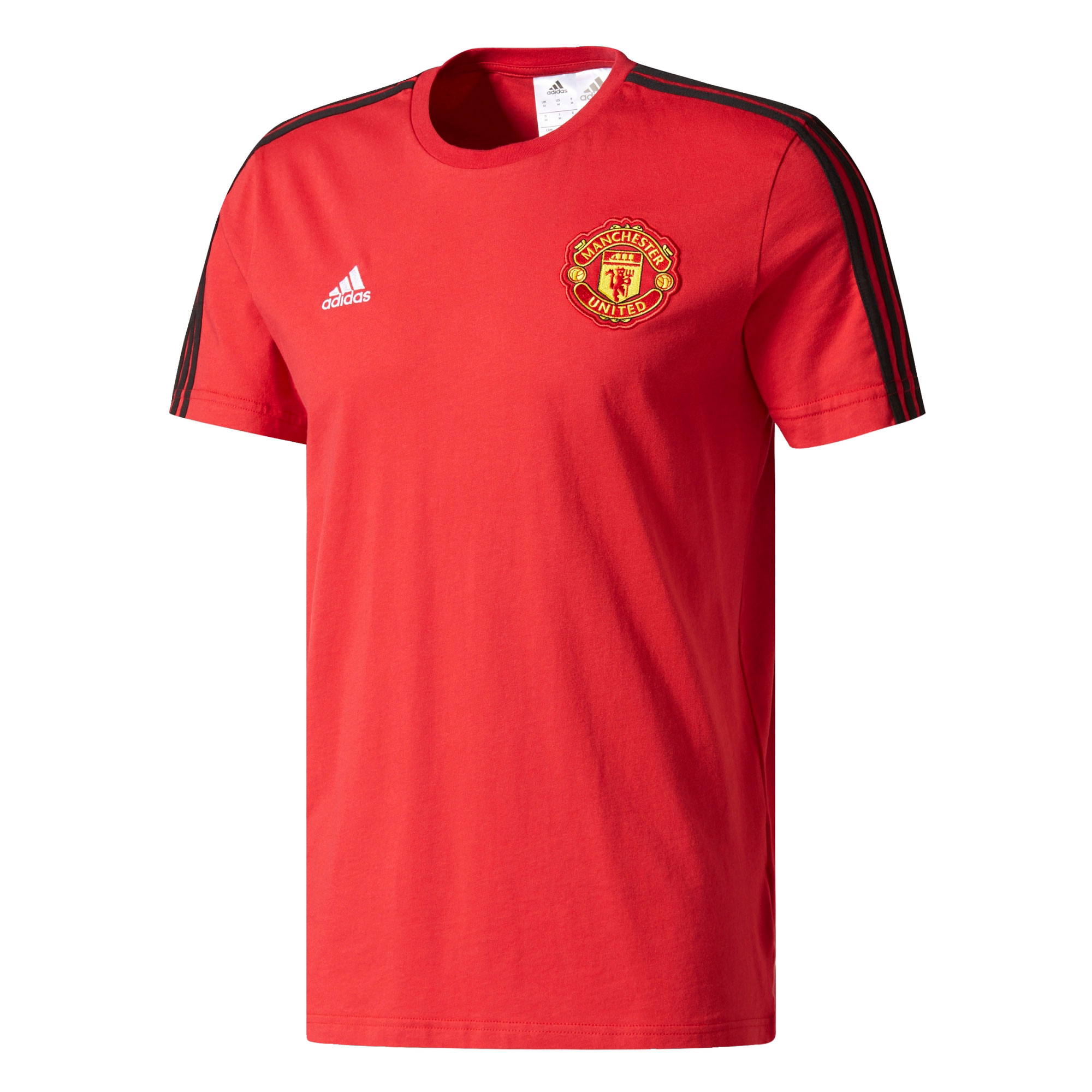 Manchester United 3 Stripe T-Shirt - Red