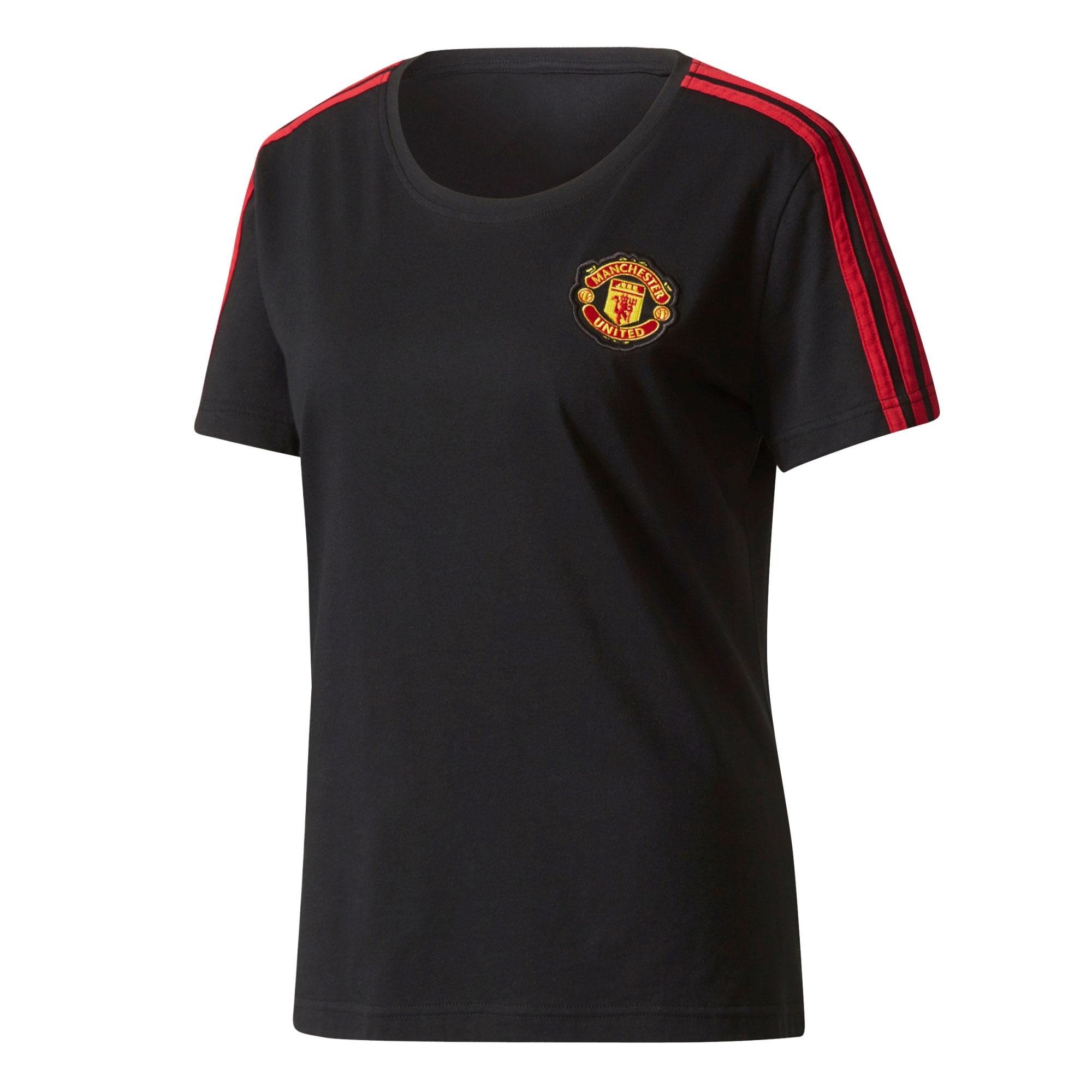 Manchester United 3 Stripe T-Shirt - Black - Womens