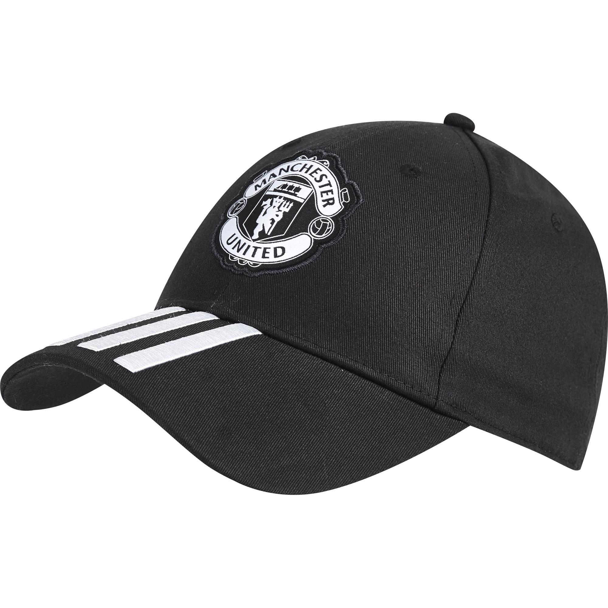 Manchester United 3 Stripe Cap - Black