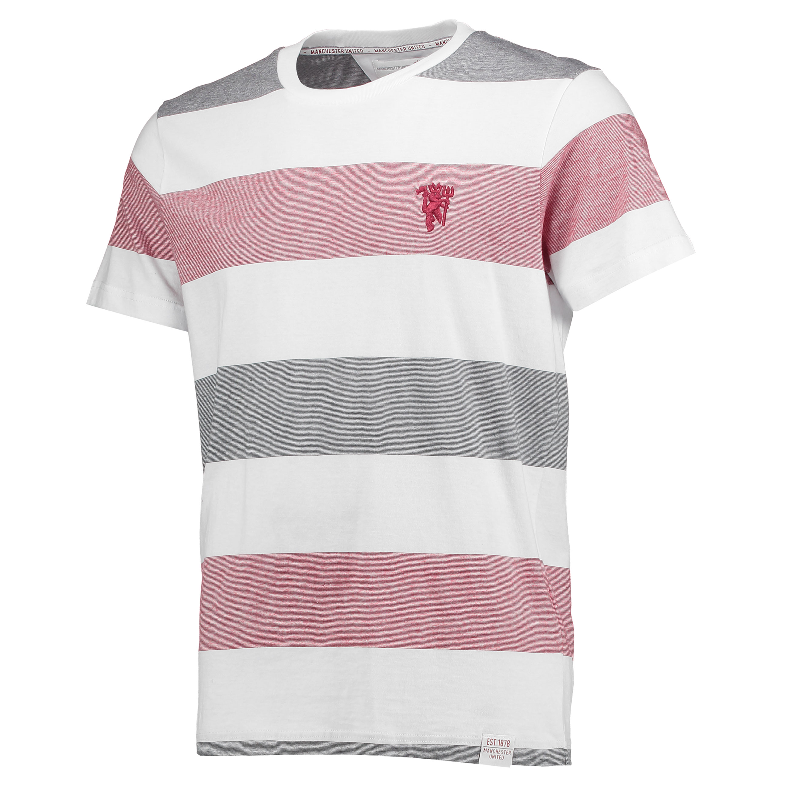 Manchester United Lifestyle Stripe T-Shirt - White/Brick Red - Mens