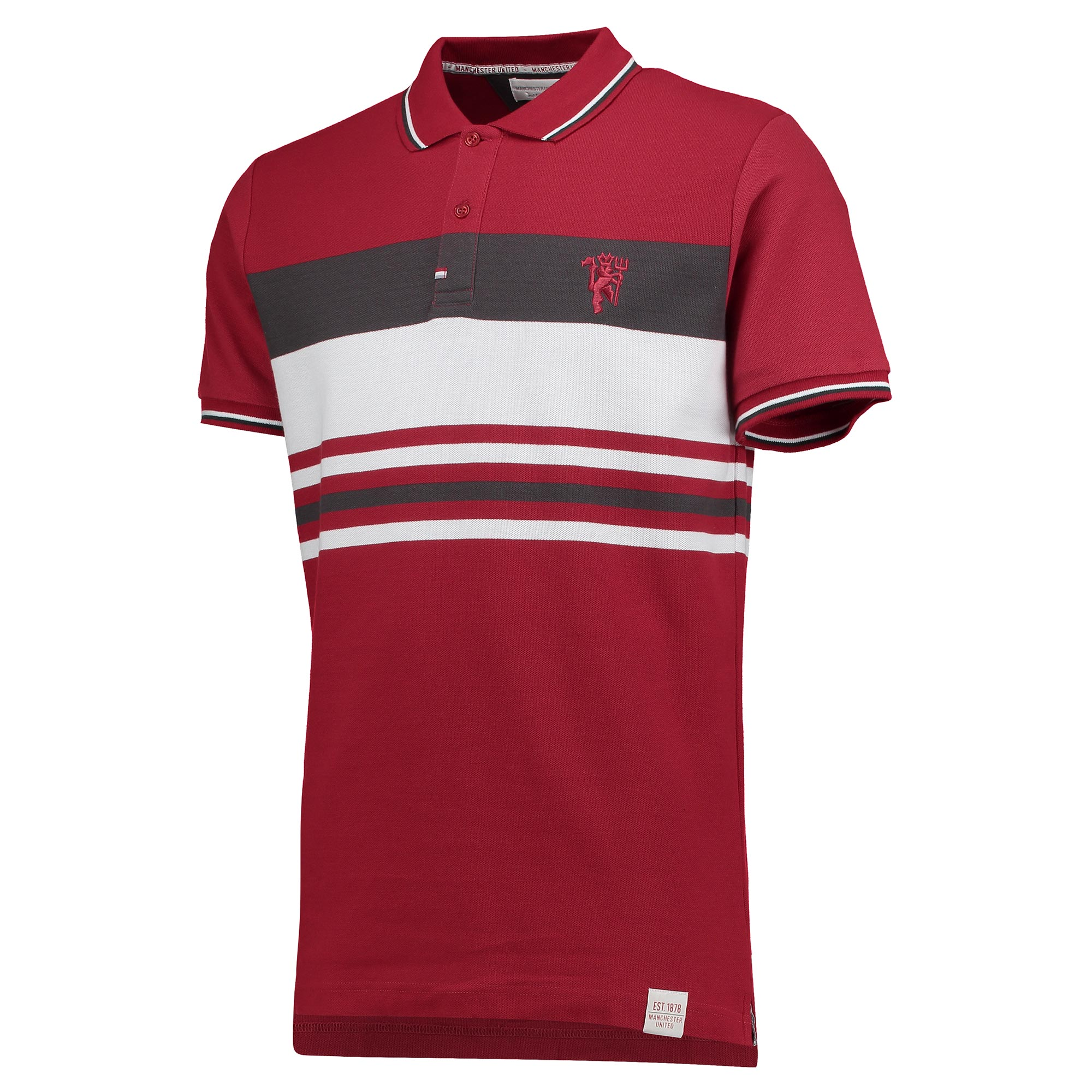Manchester United Lifestyle Stripe Polo Shirt - Brick Red - Mens