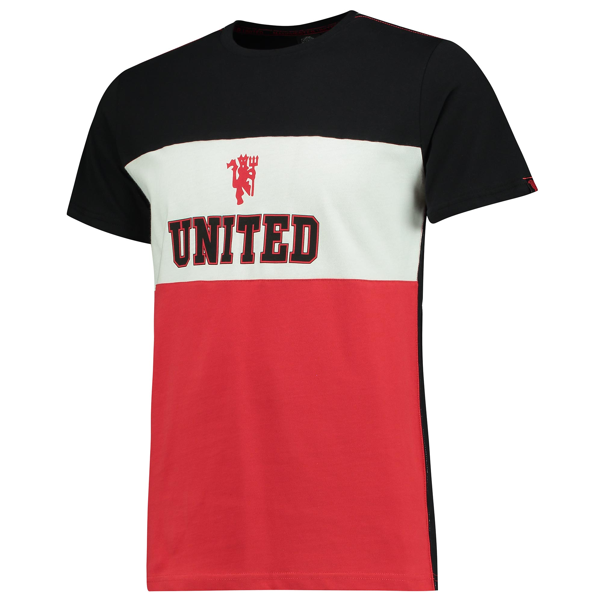 Manchester United Panel T-Shirt - Black/Red/White - Mens