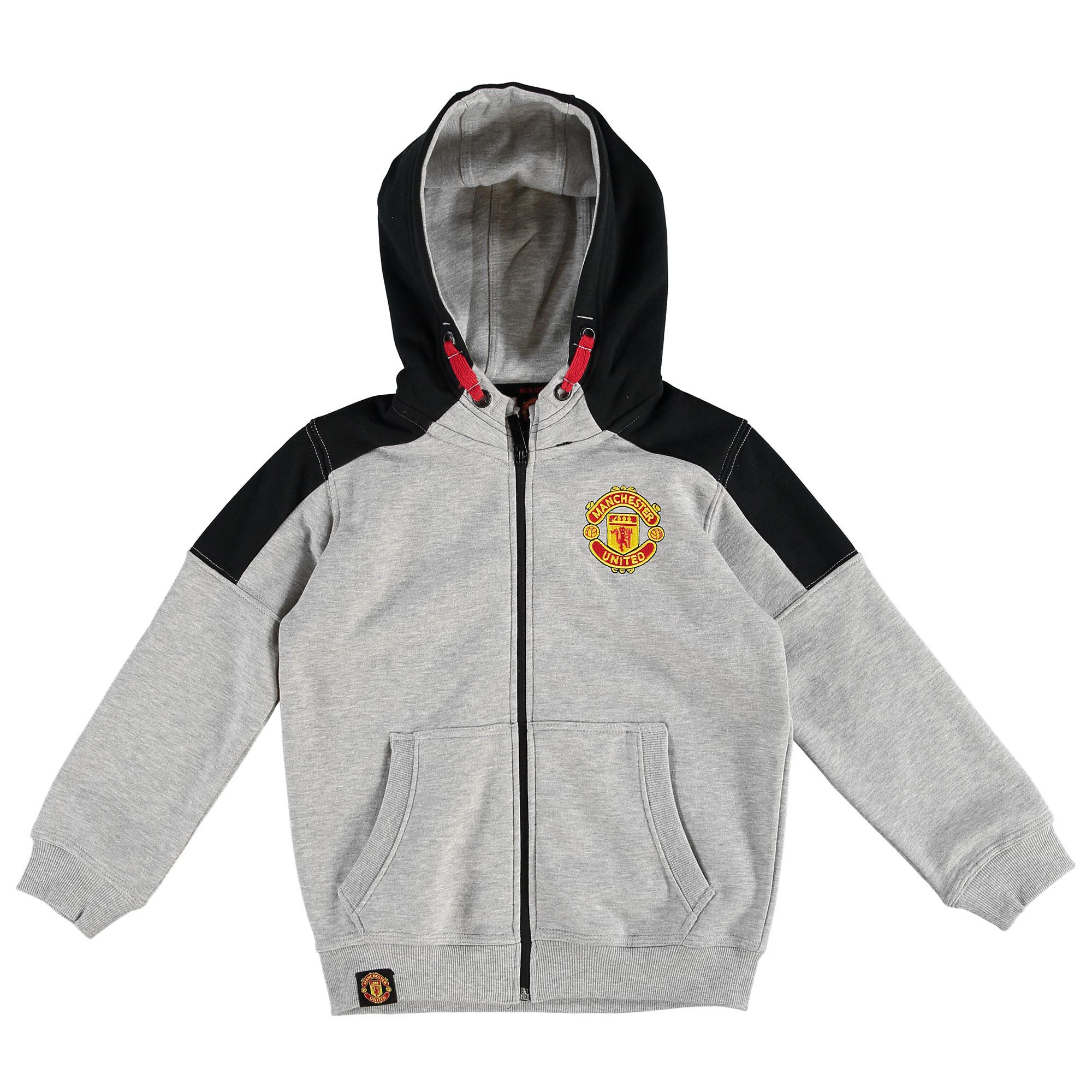 Sweat à capuche entièrement zippé Manchester United Core - Gris chiné - Enfant