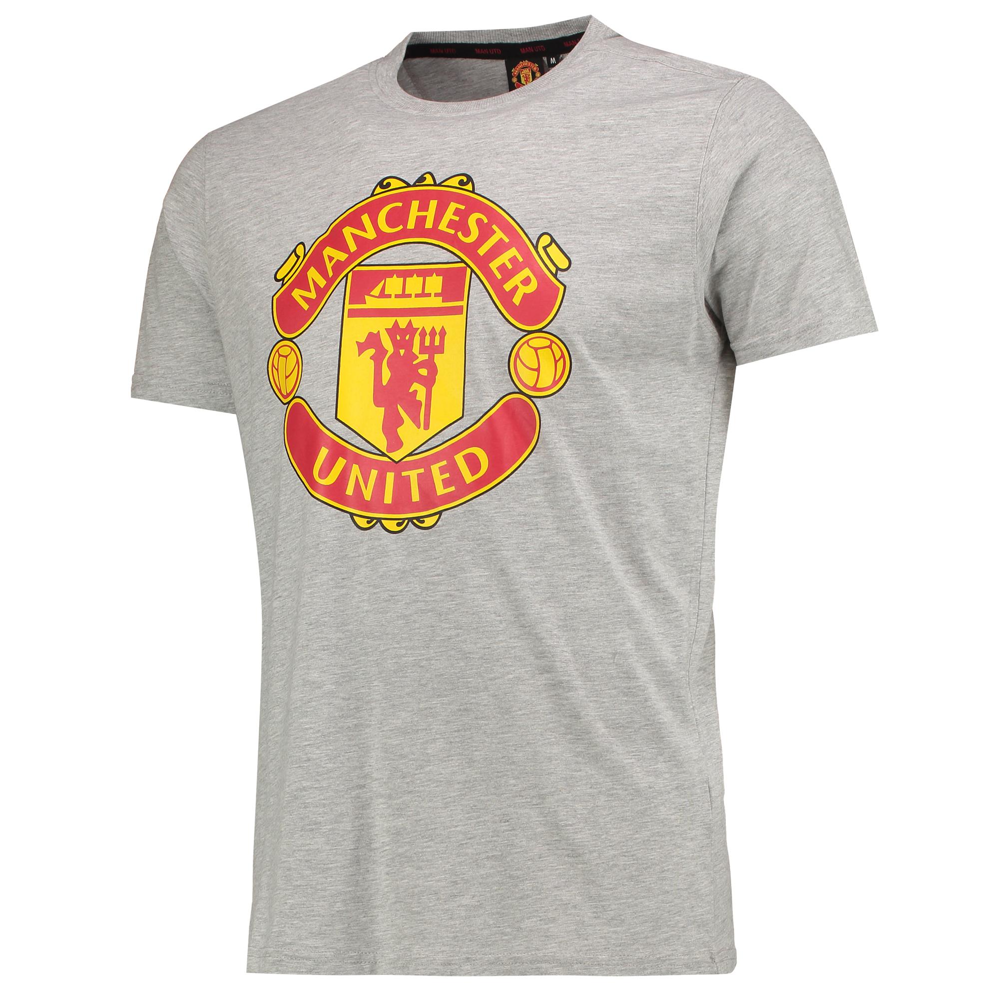 Tee-shirt avec écusson Manchester United Core - Gris chiné - Homme