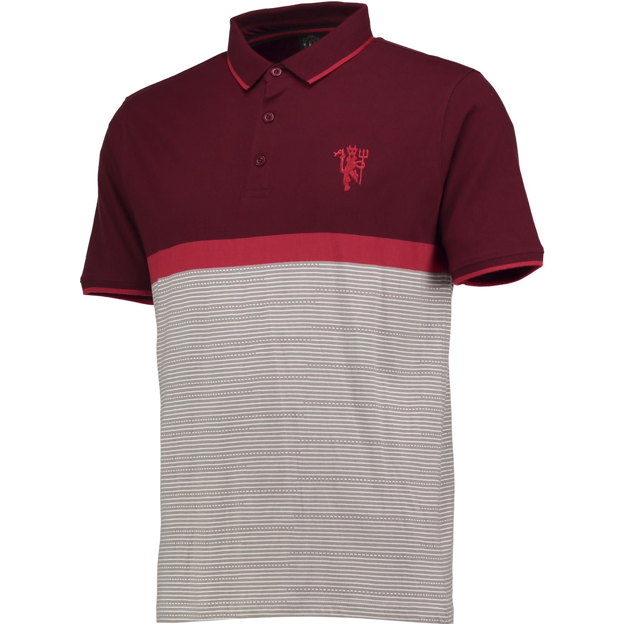 Polo à couleurs contrastées Manchester United Vintage - Bordeaux/Grège - Homme