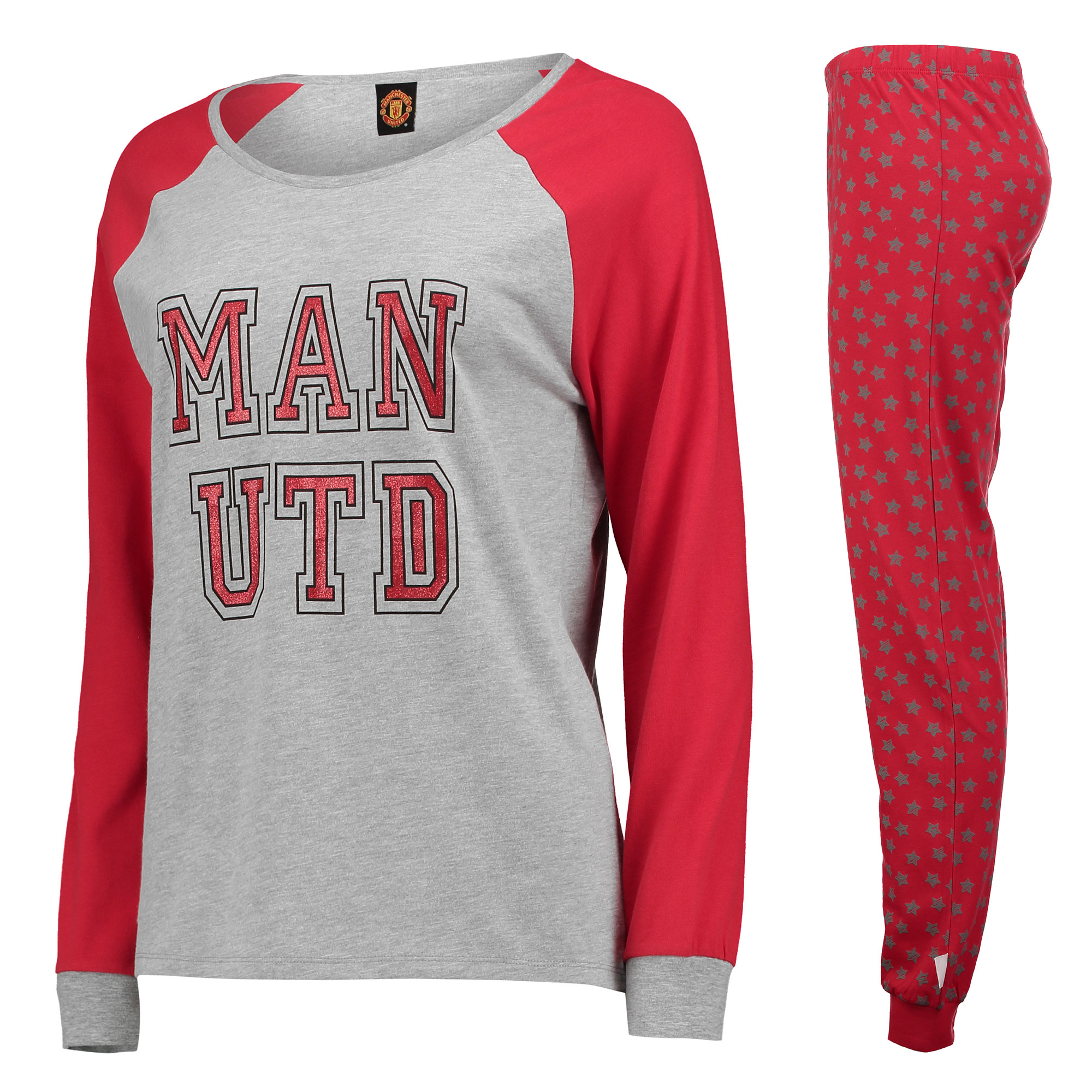 Pyjama confortable Manchester United Star - Gris chiné/Rouge - Femme