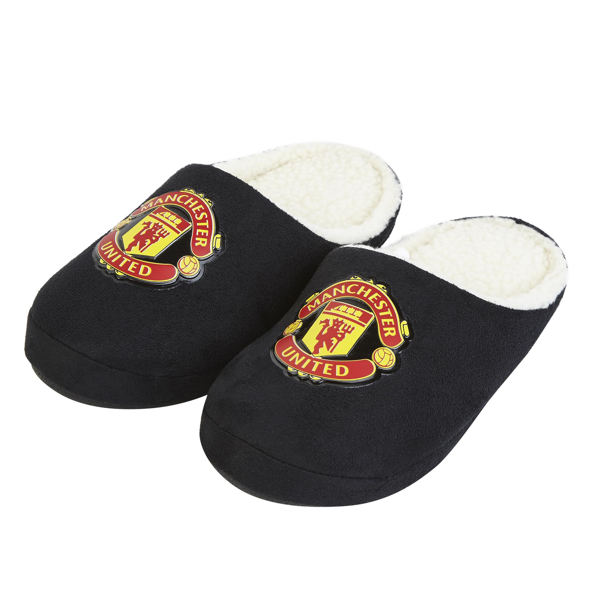 Pantoufles avec écusson Manchester United - Noir - Enfants