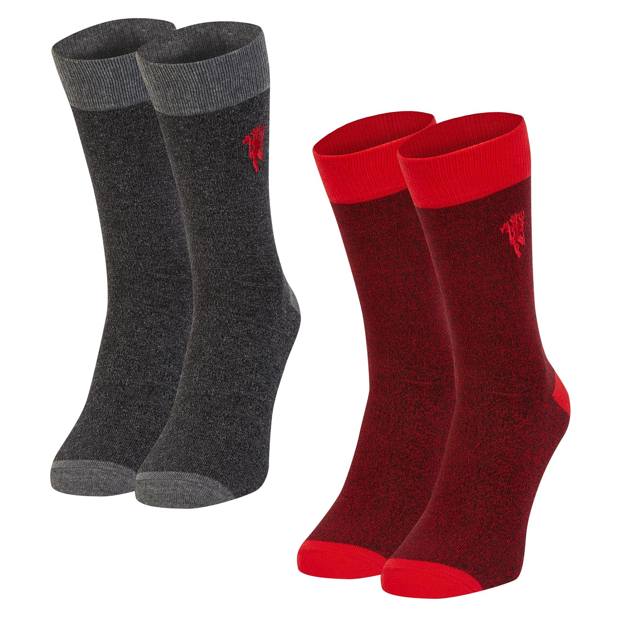 Manchester United Lot de 2paires de chaussettes Red Devil - Rouge/gris - Homme