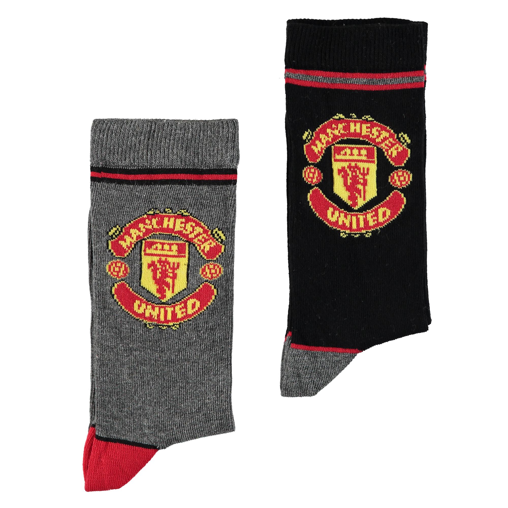 Chaussettes écusson Manchester United - Blanc/Noir - Enfant
