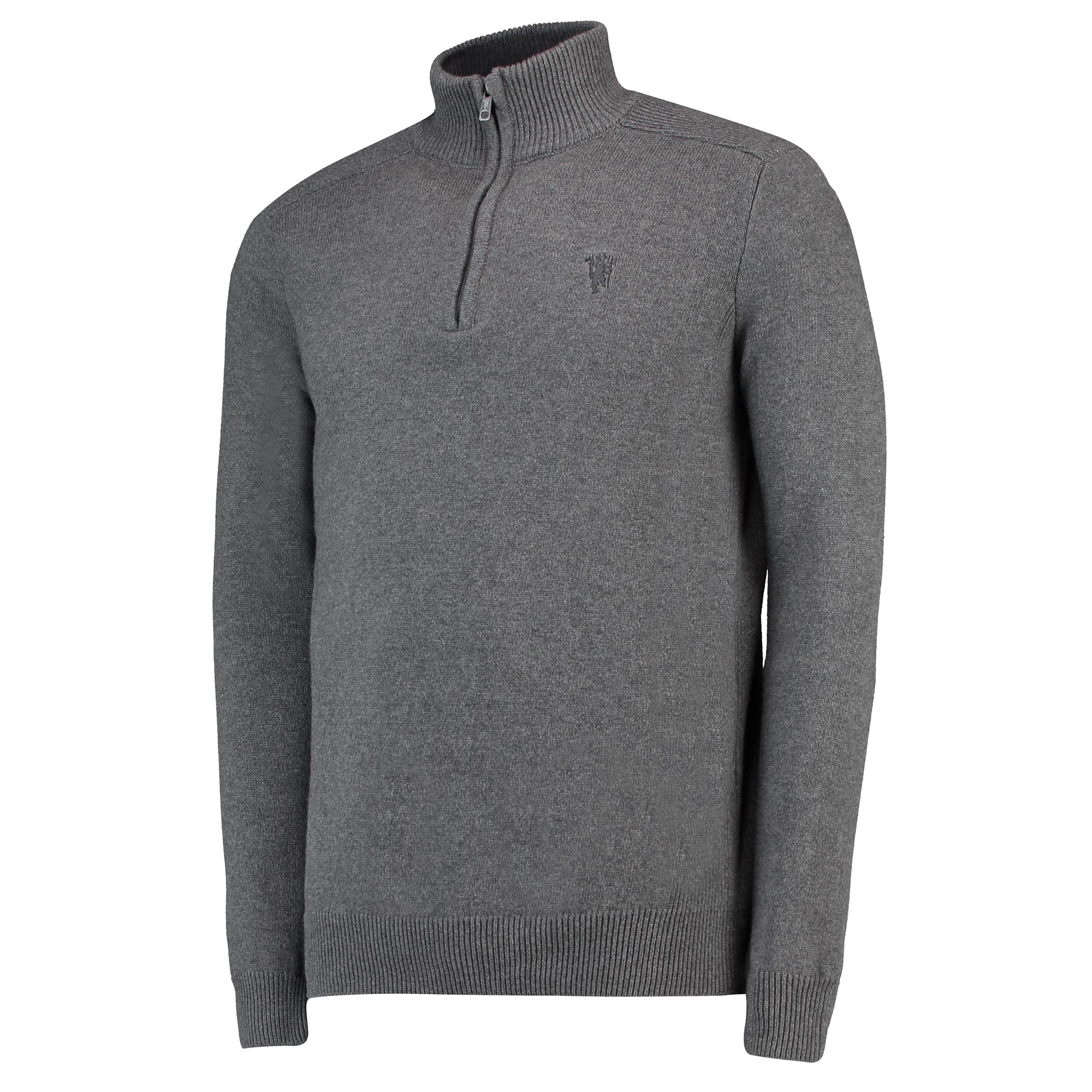Image of Manchester United 1/4 Zip Sweater - Charcoal - Mens
