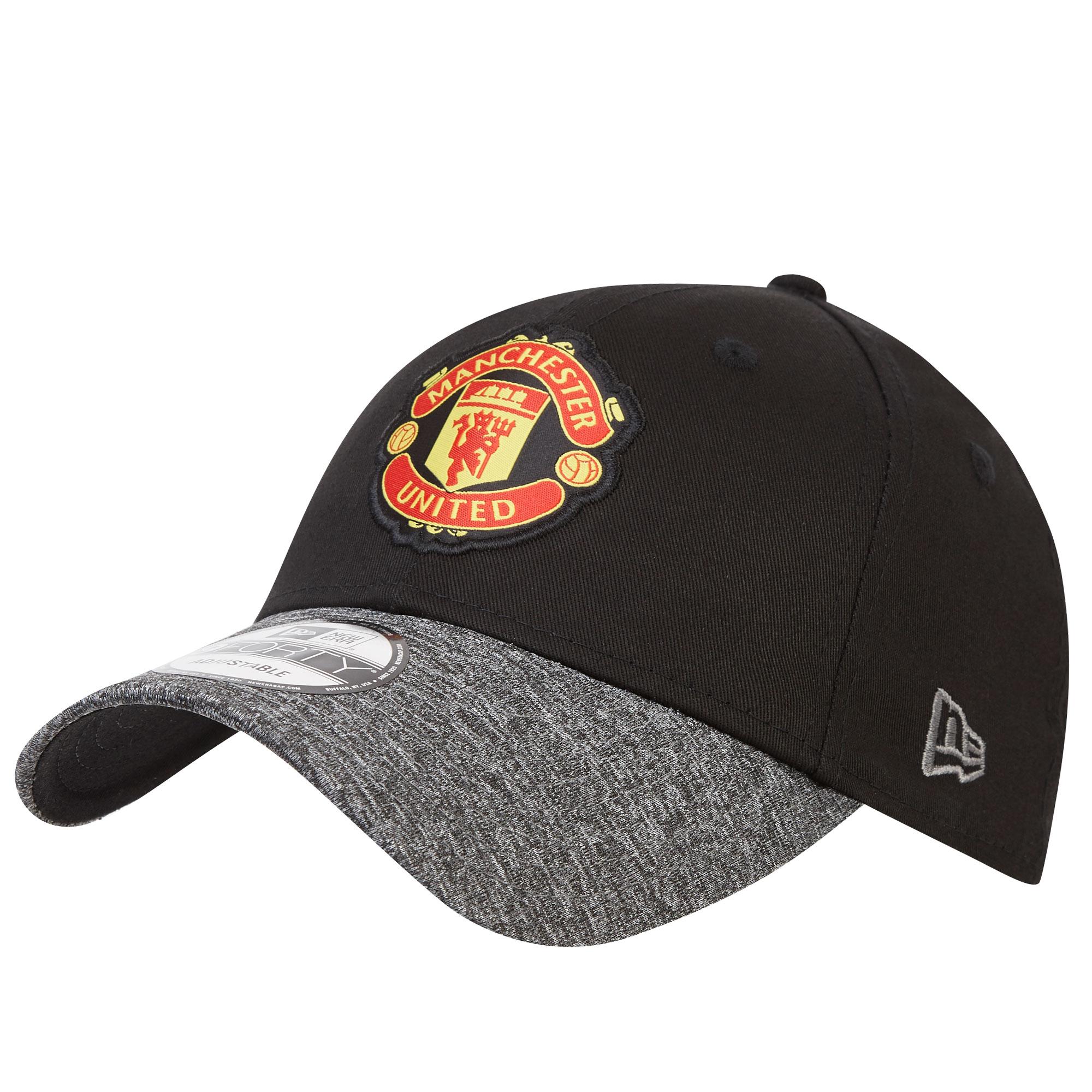 Casquette New Era 9FORTY avec visière chinée Manchester United réglable - Noir- Adulte