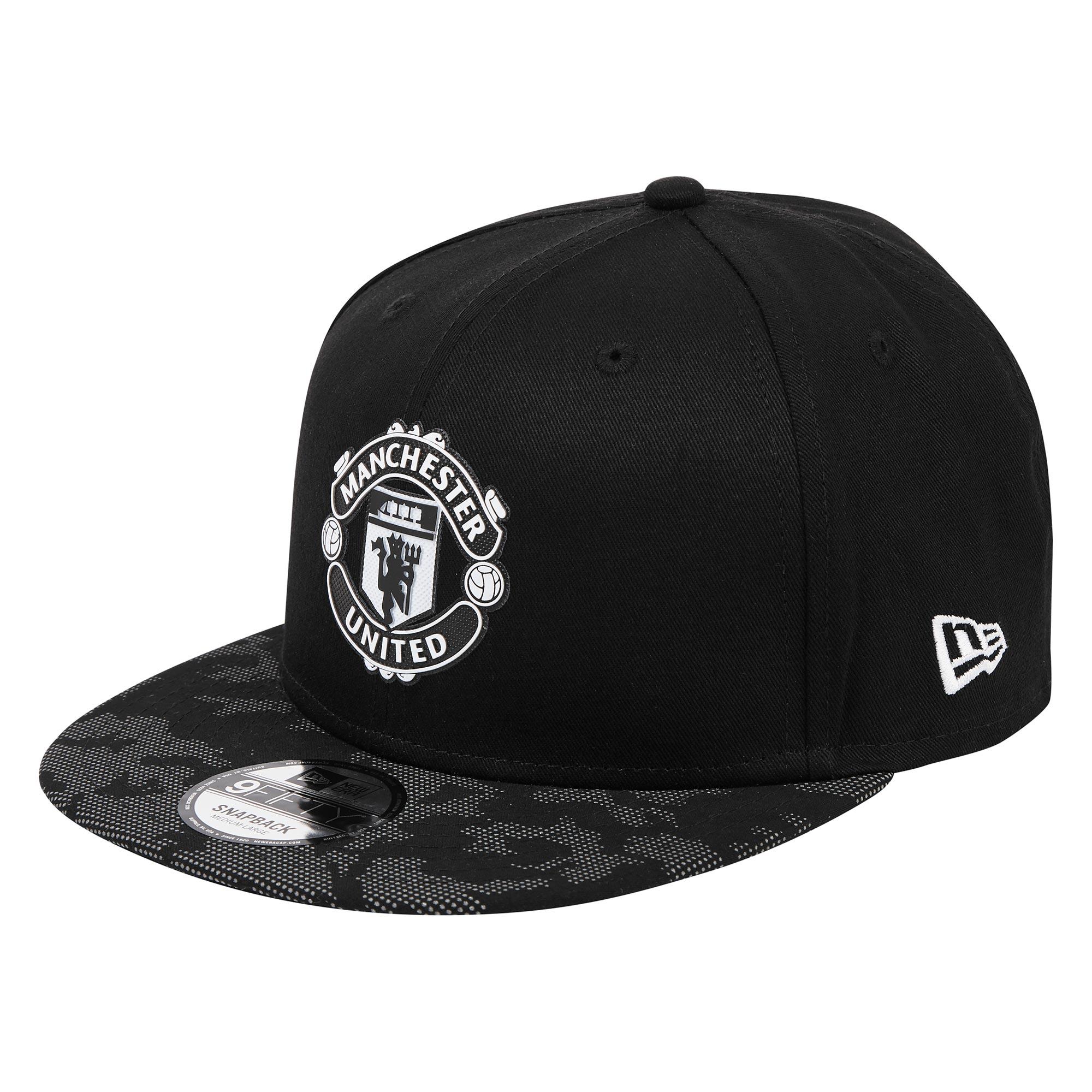 Casquette New Era 9FIFTY avec visière à motif camouflage et autocollant réfléchissant Manchester United réglable - Noir- Adulte