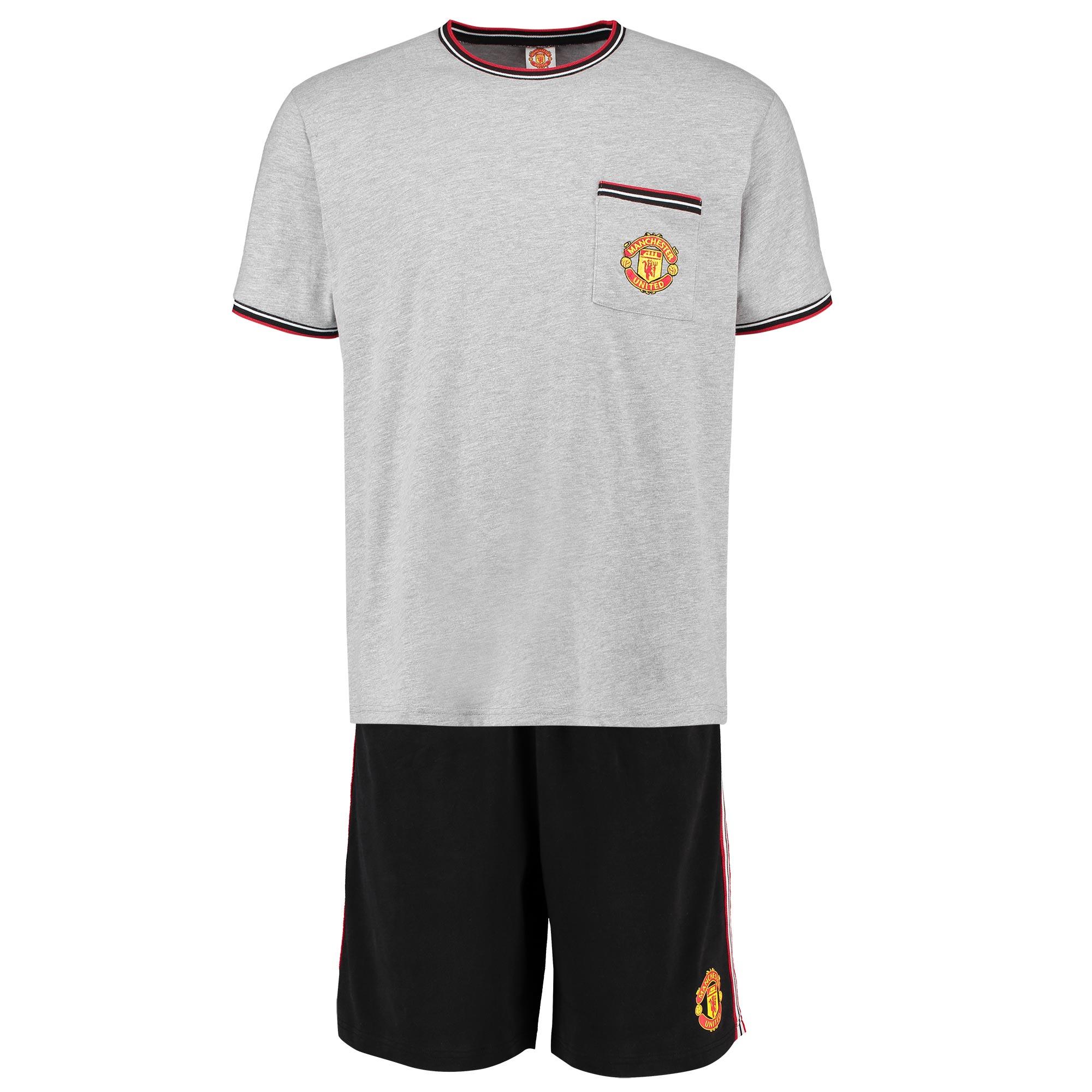 Pyjama avec short Manchester United Retro - Gris chiné/Noir - Homme