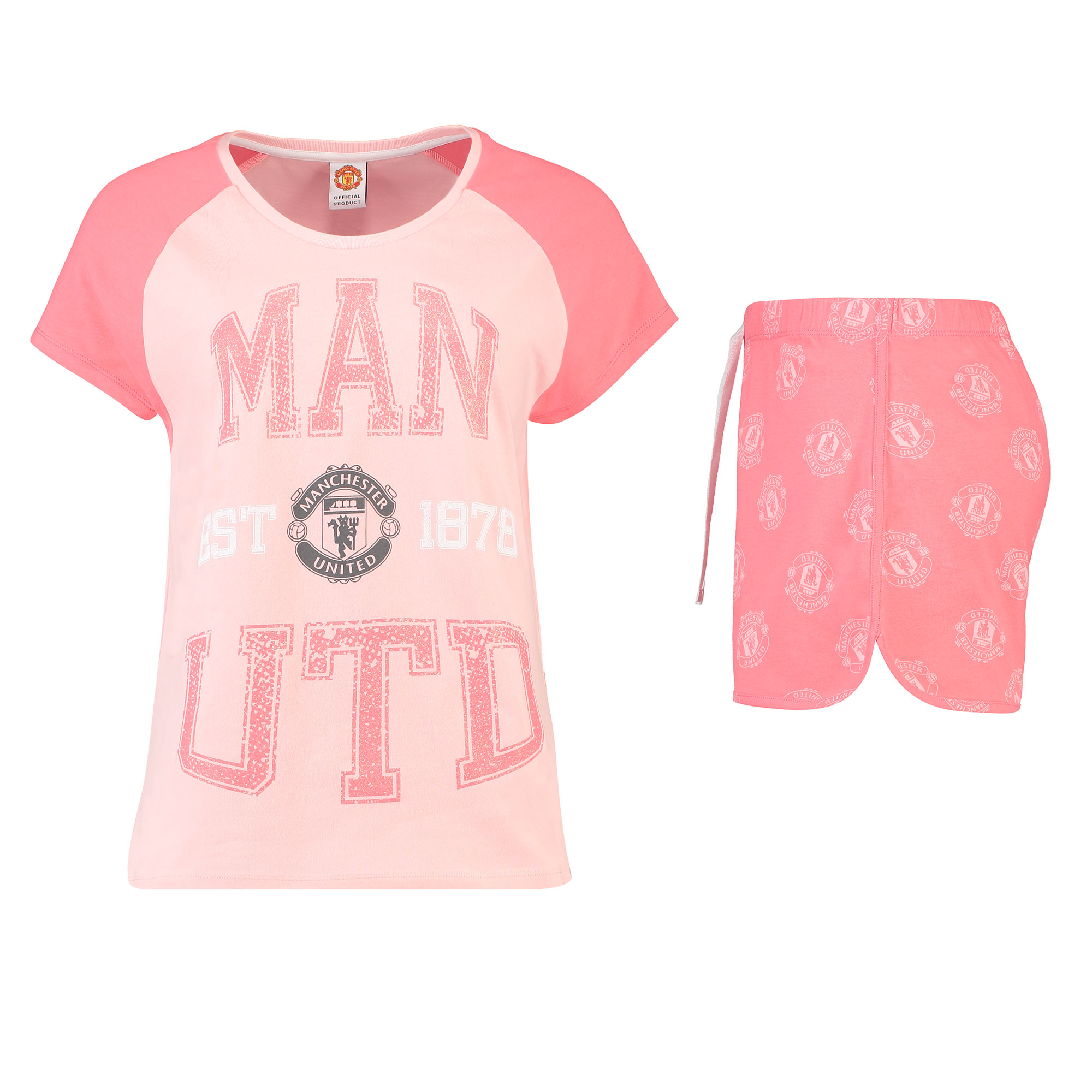 Pyjama avec short Manchester United Established 1878 - Rose - Femme