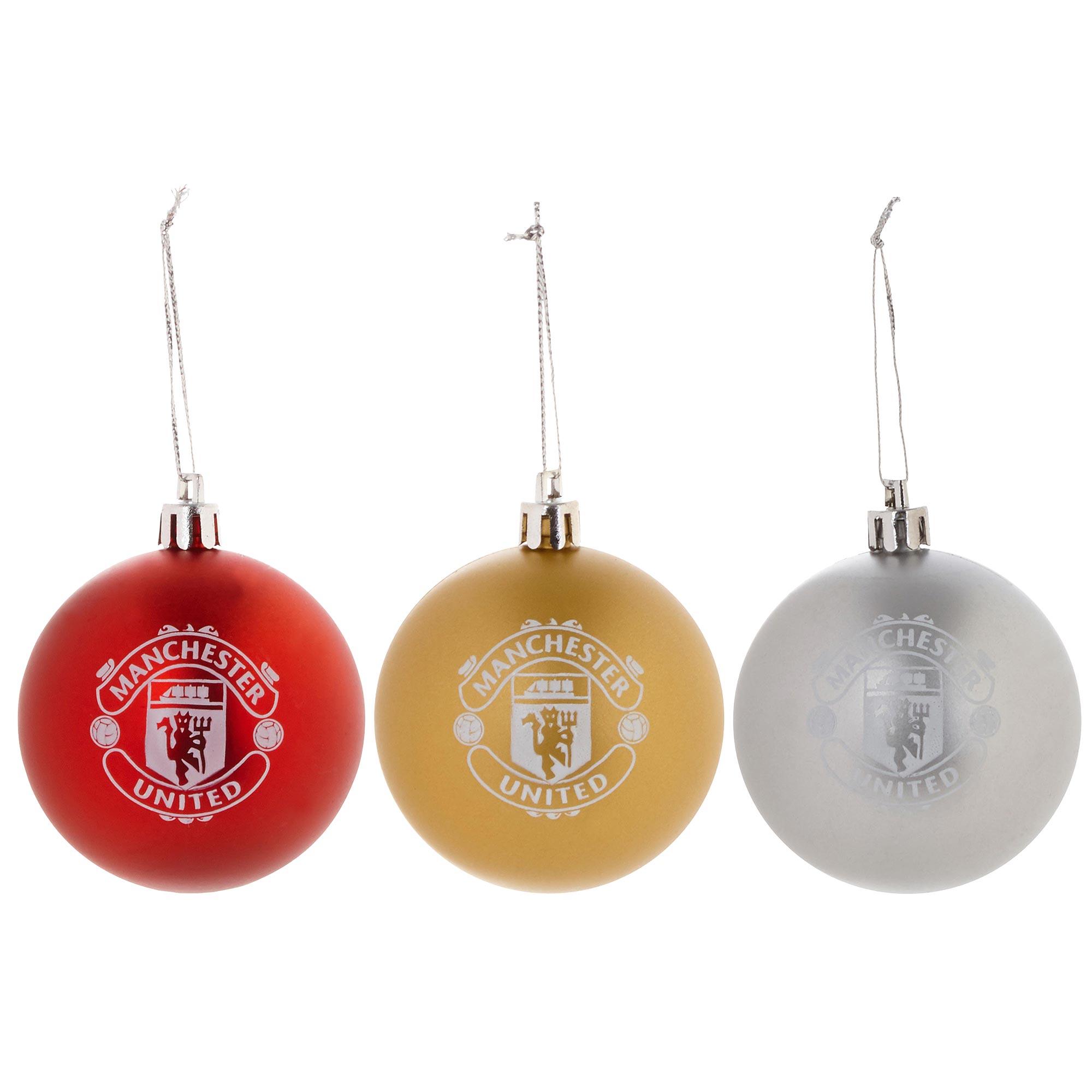 Club Branded / Bolas de Navidad del Manchester United - paquete de 3
