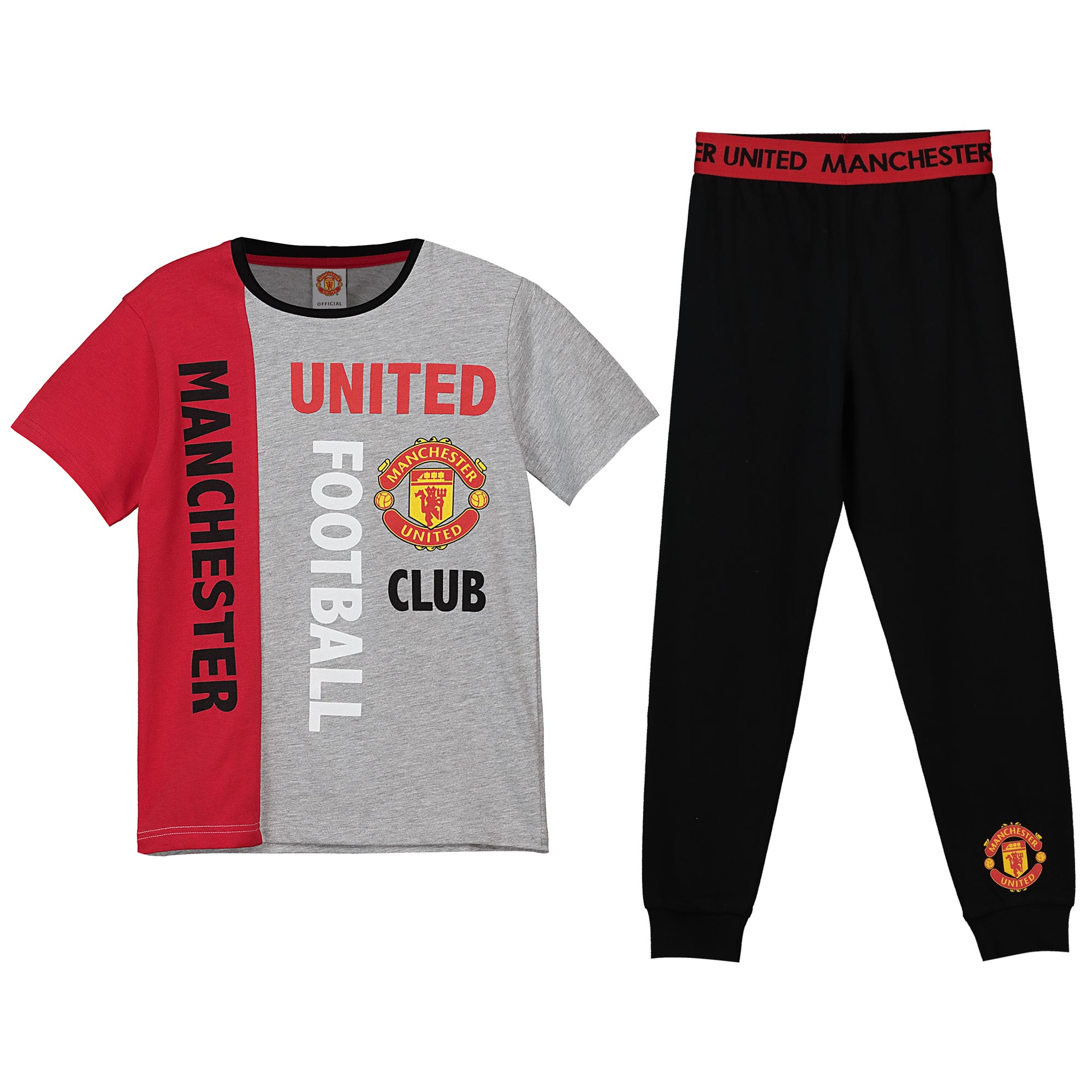 Manchester United Graphic Waistband Pyjamas - Grey/Black - Boys