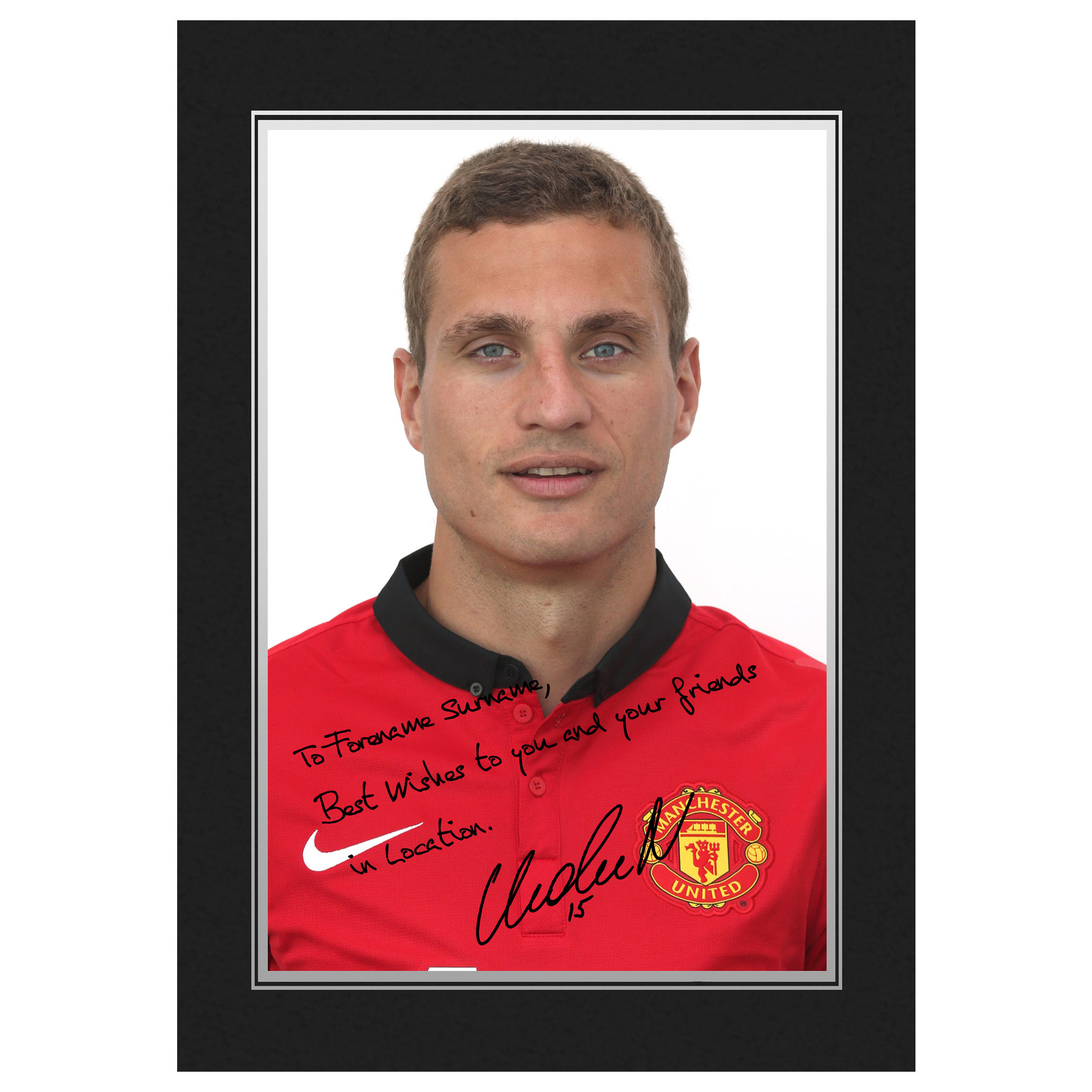 Manchester United Personalised Signature Photo In Presentation Folder - Vidic