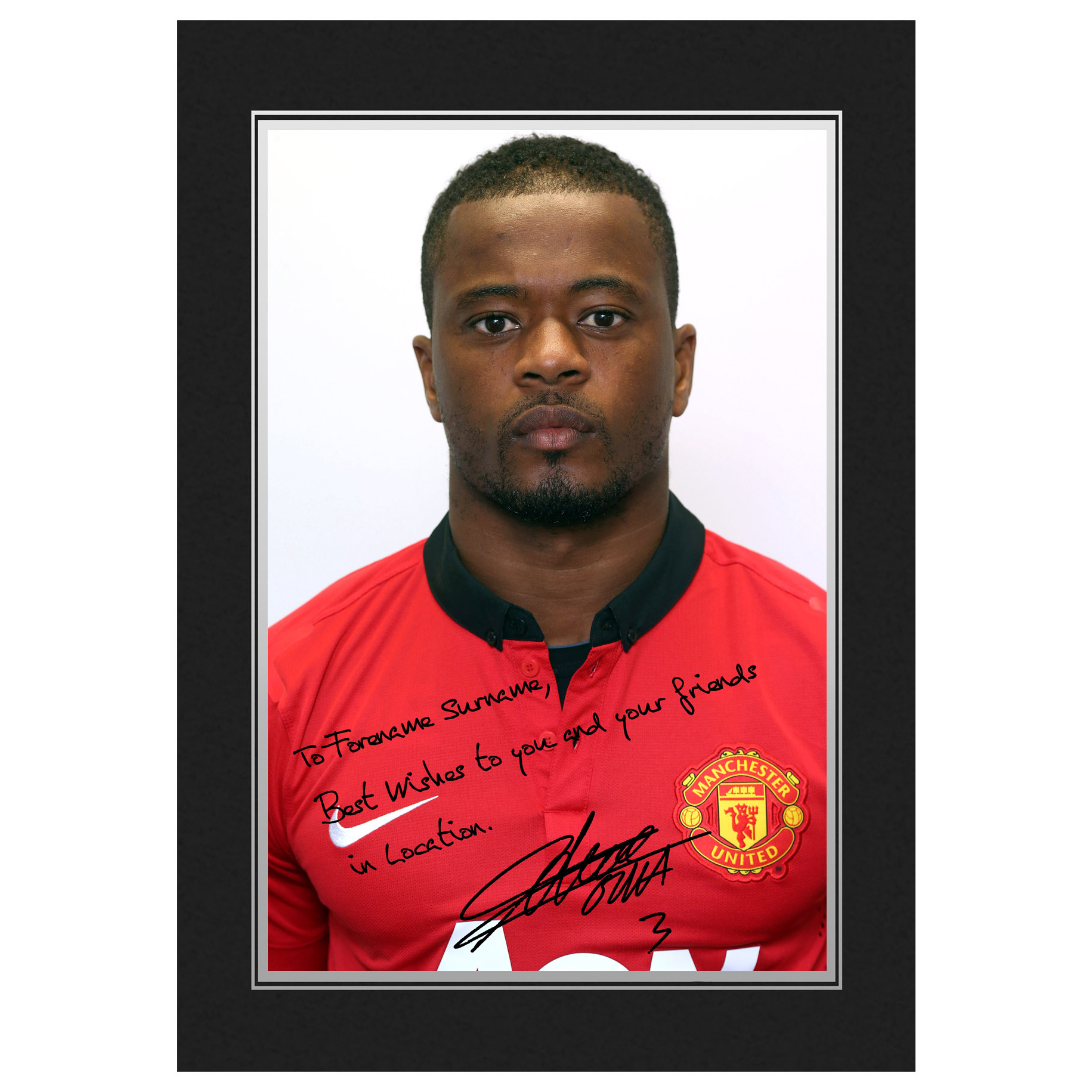 Manchester United Personalised Signature Photo In Presentation Folder - Evra