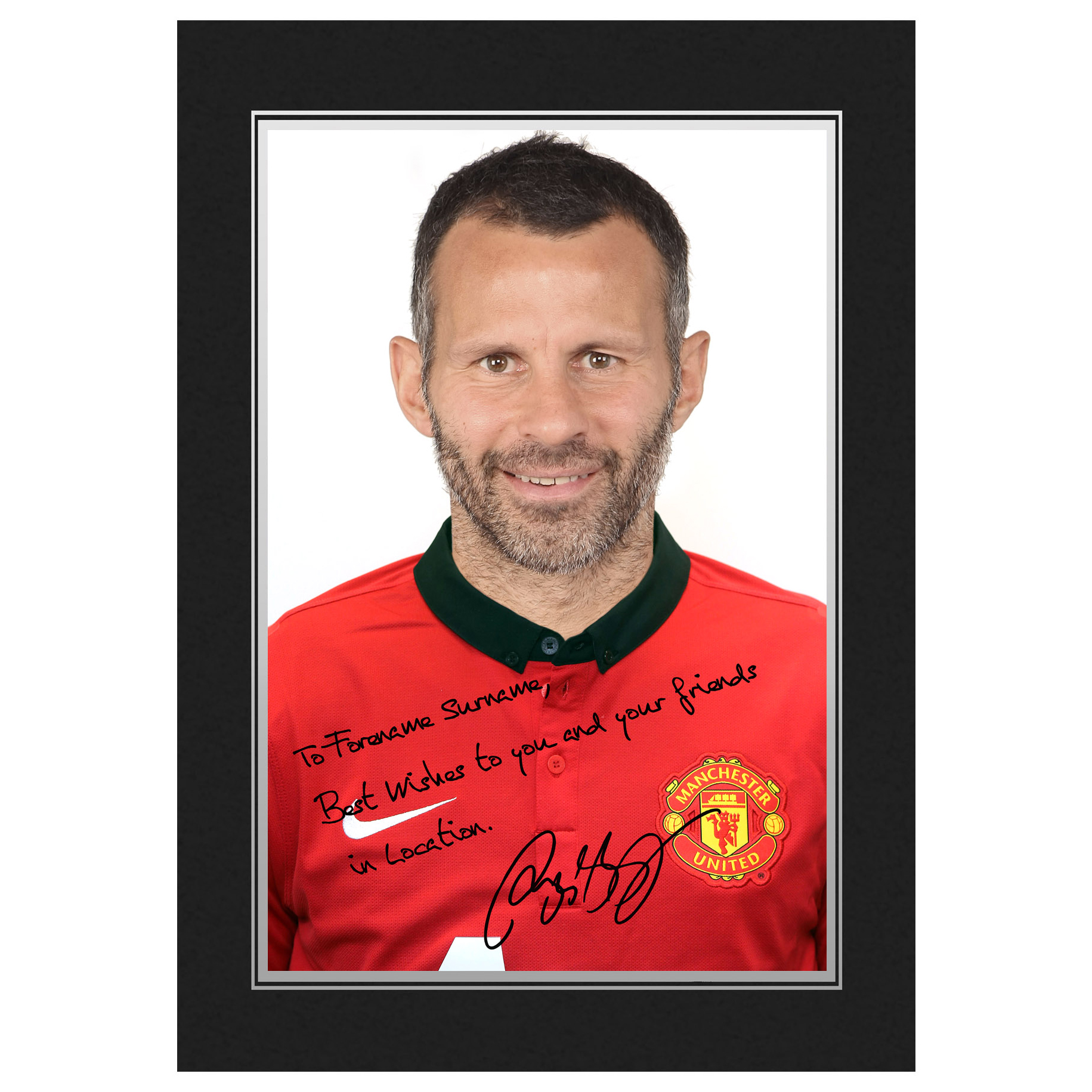 Manchester United Personalised Signature Photo In Presentation Folder - Giggs