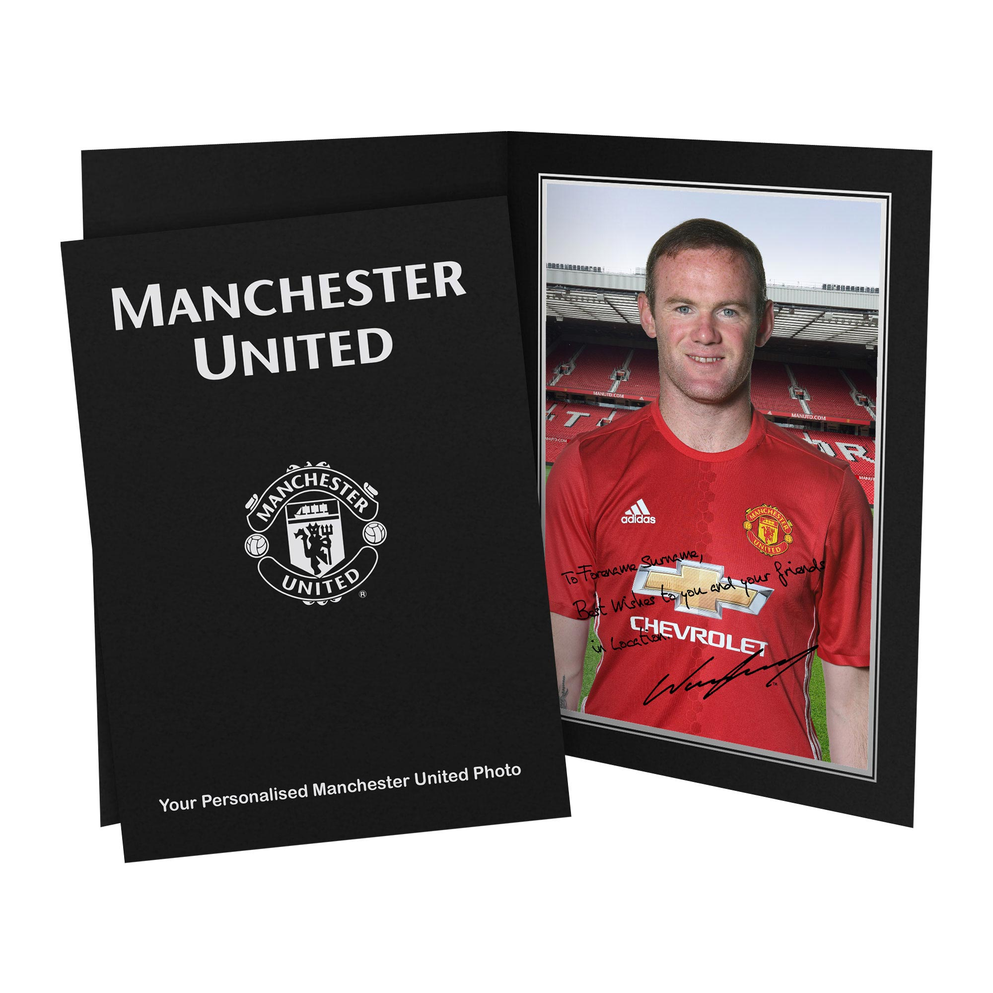 Manchester United Personalised Signature Photo In Presentation Folder - Rooney
