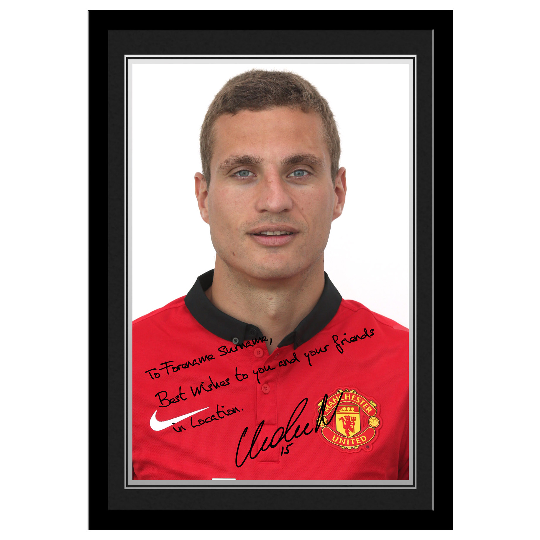 Manchester United Personalised Signature Photo Framed - Vidic