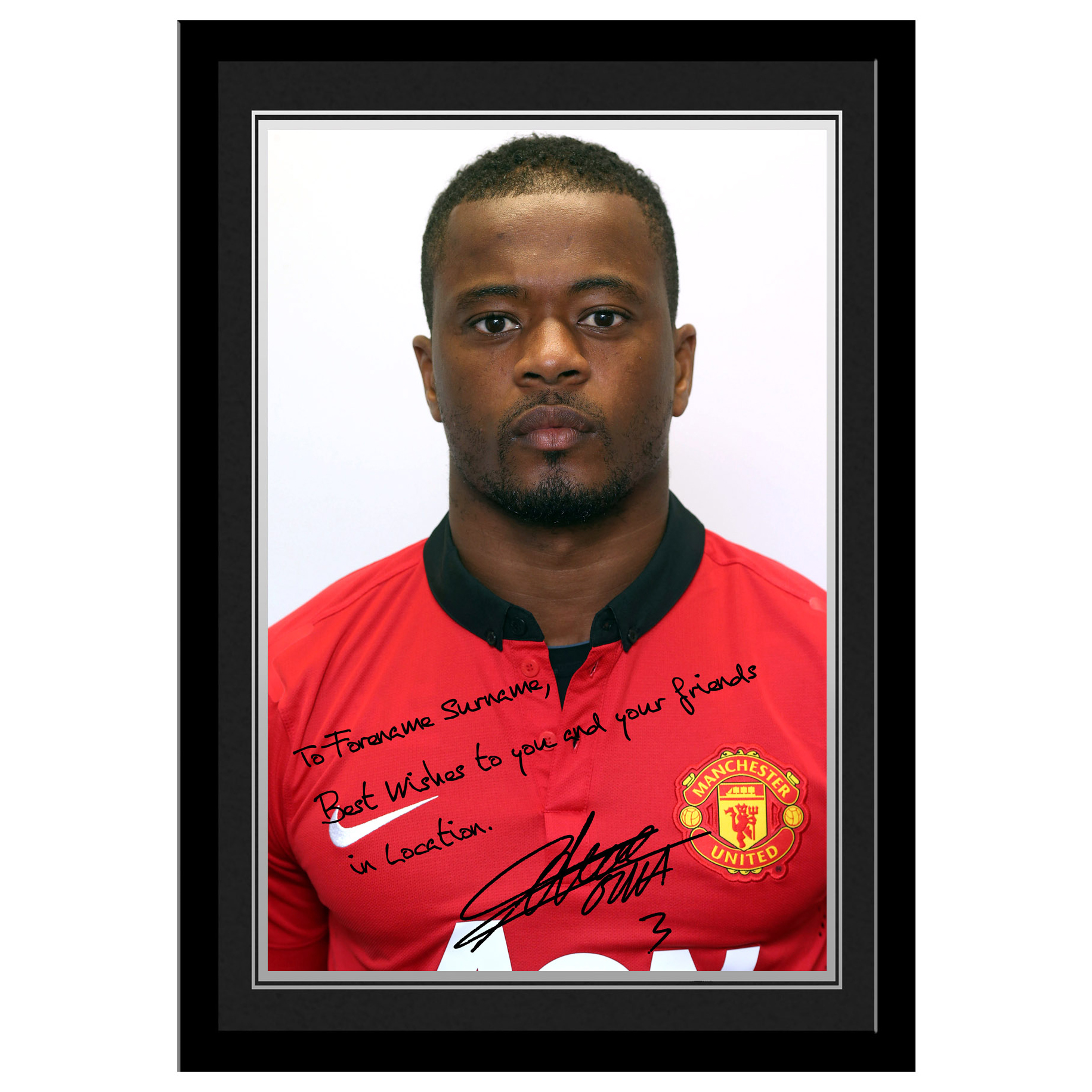 Manchester United Personalised Signature Photo Framed - Evra