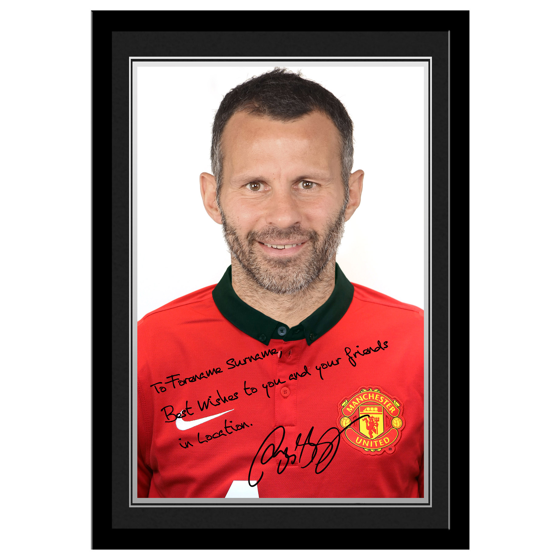 Manchester United Personalised Signature Photo Framed - Giggs