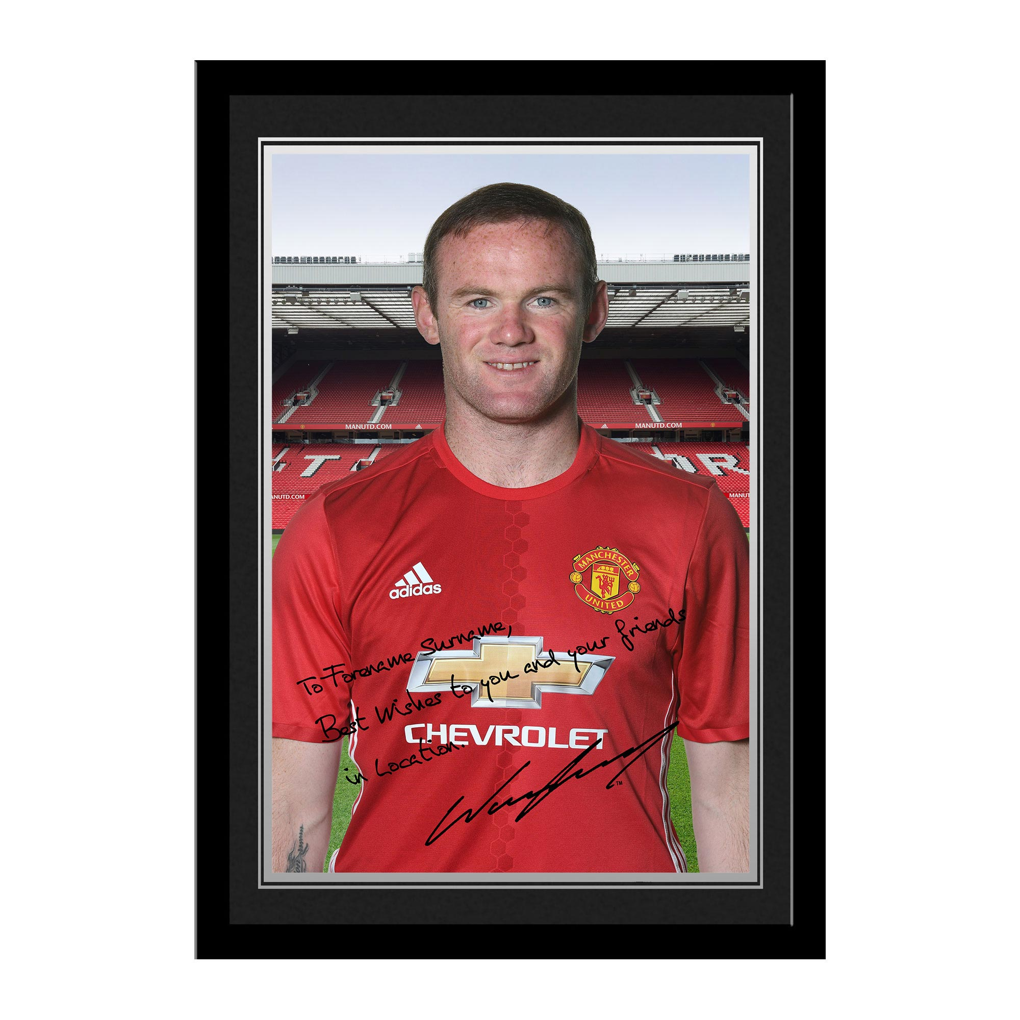 Manchester United Personalised Signature Photo Framed - Rooney