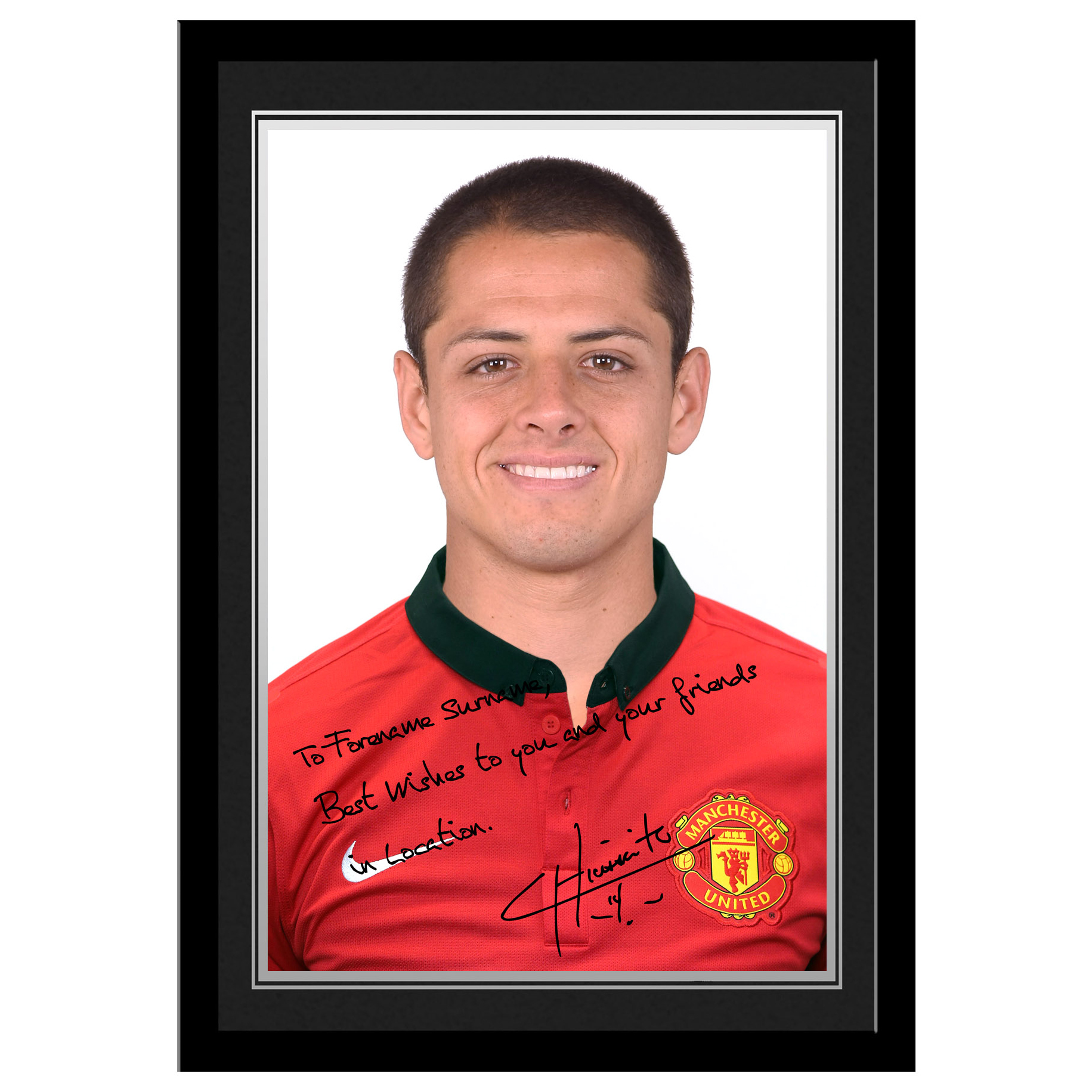Manchester United Personalised Signature Photo Framed - Chicharito