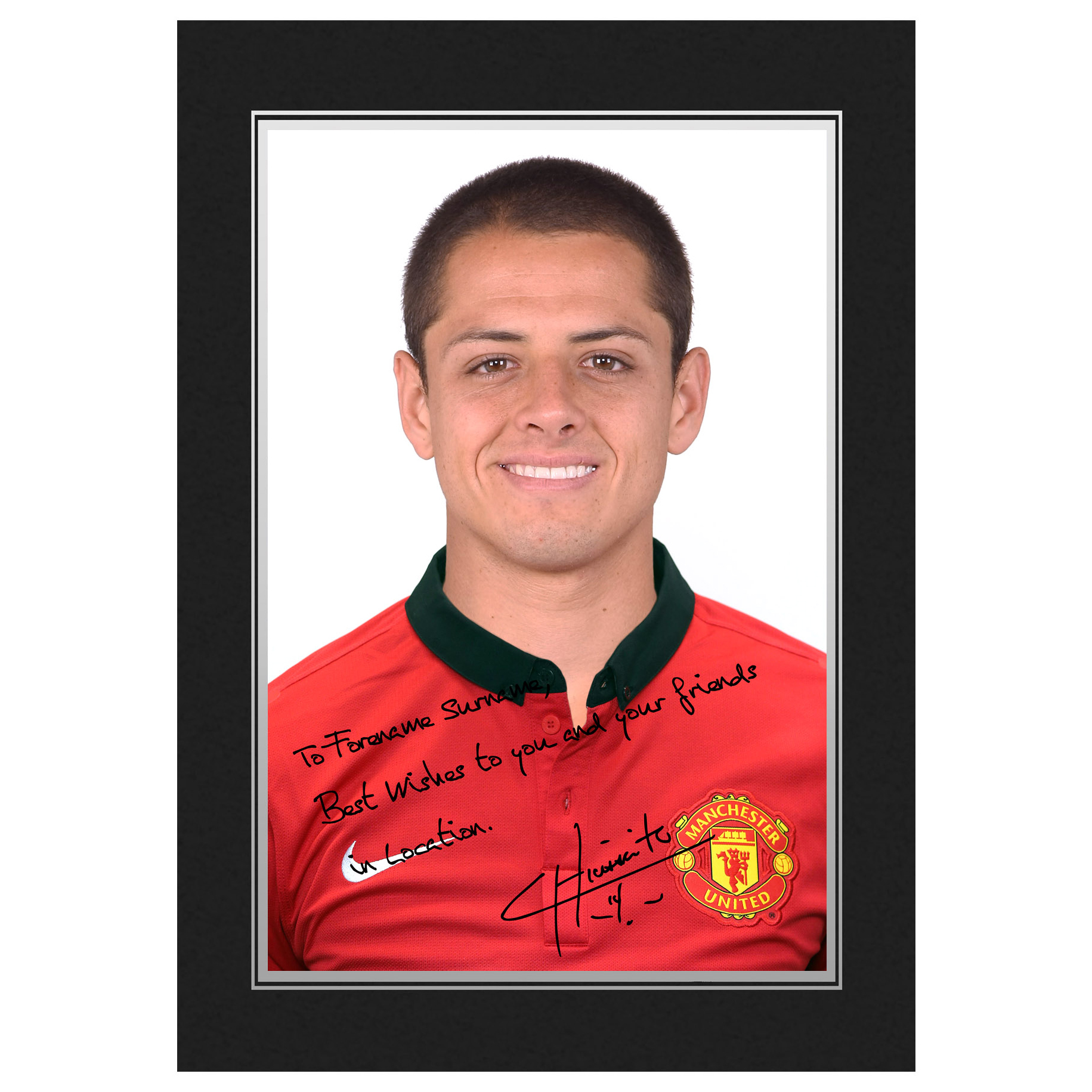 Manchester United Personalised Signature Photo In Presentation Folder - Chicharito