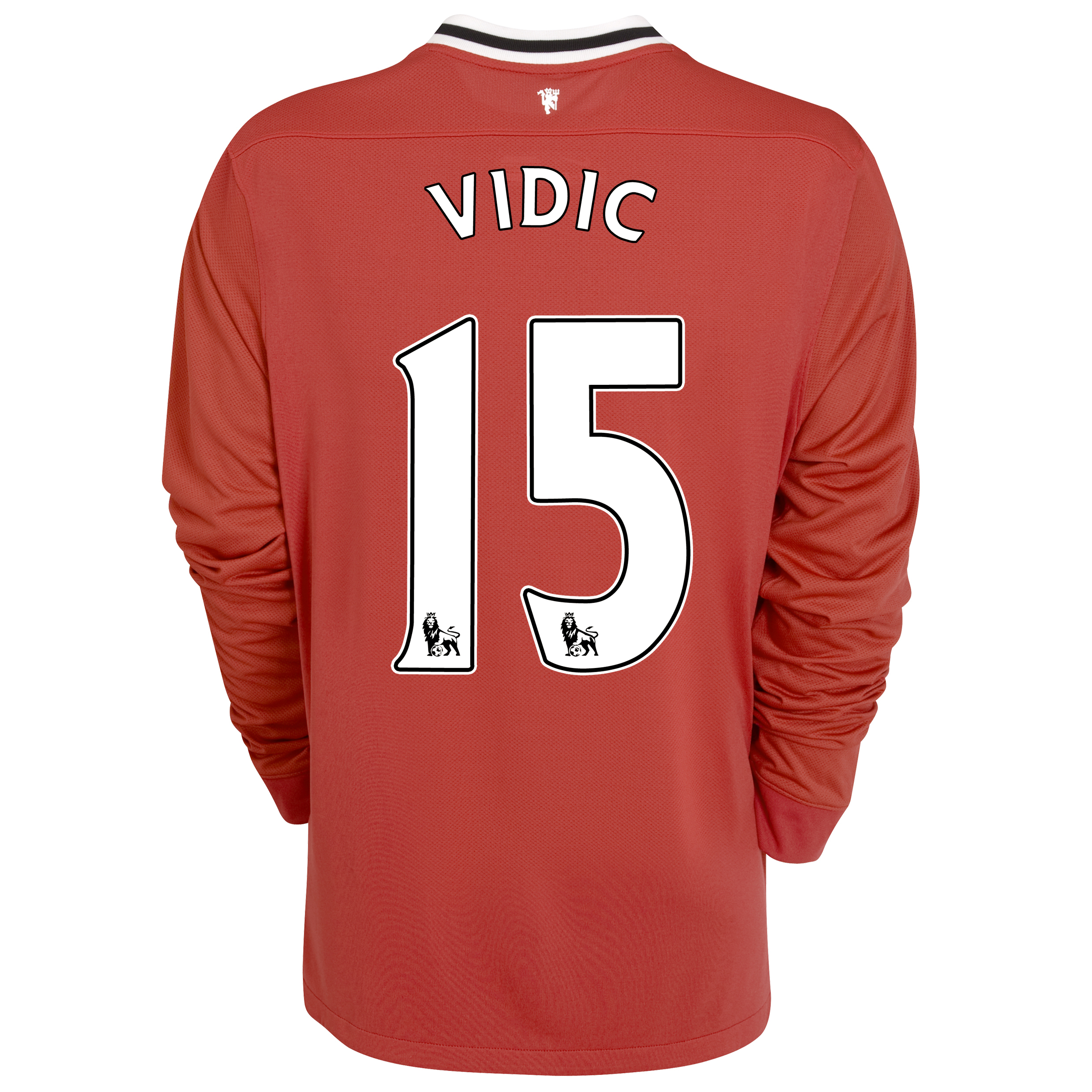 Manchester United Home Shirt 2011/12 - Long Sleeved - Kids with Vidic 15 printing