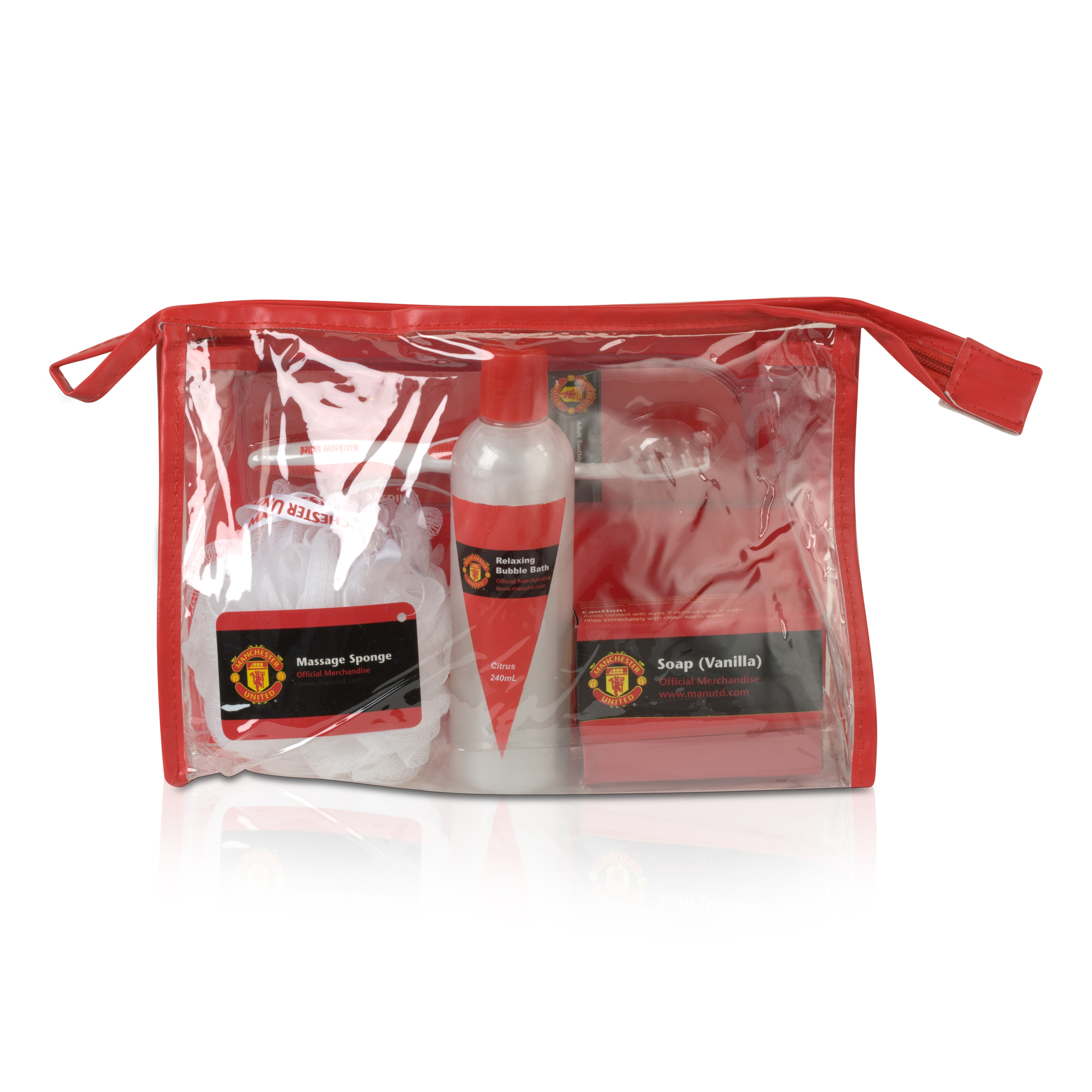 Manchester United Bathroom Wash Bag Set - Clear
