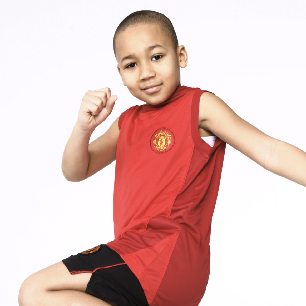 Manchester United Core Poly Hooded Sleeveless T-Shirt- Red - Boys