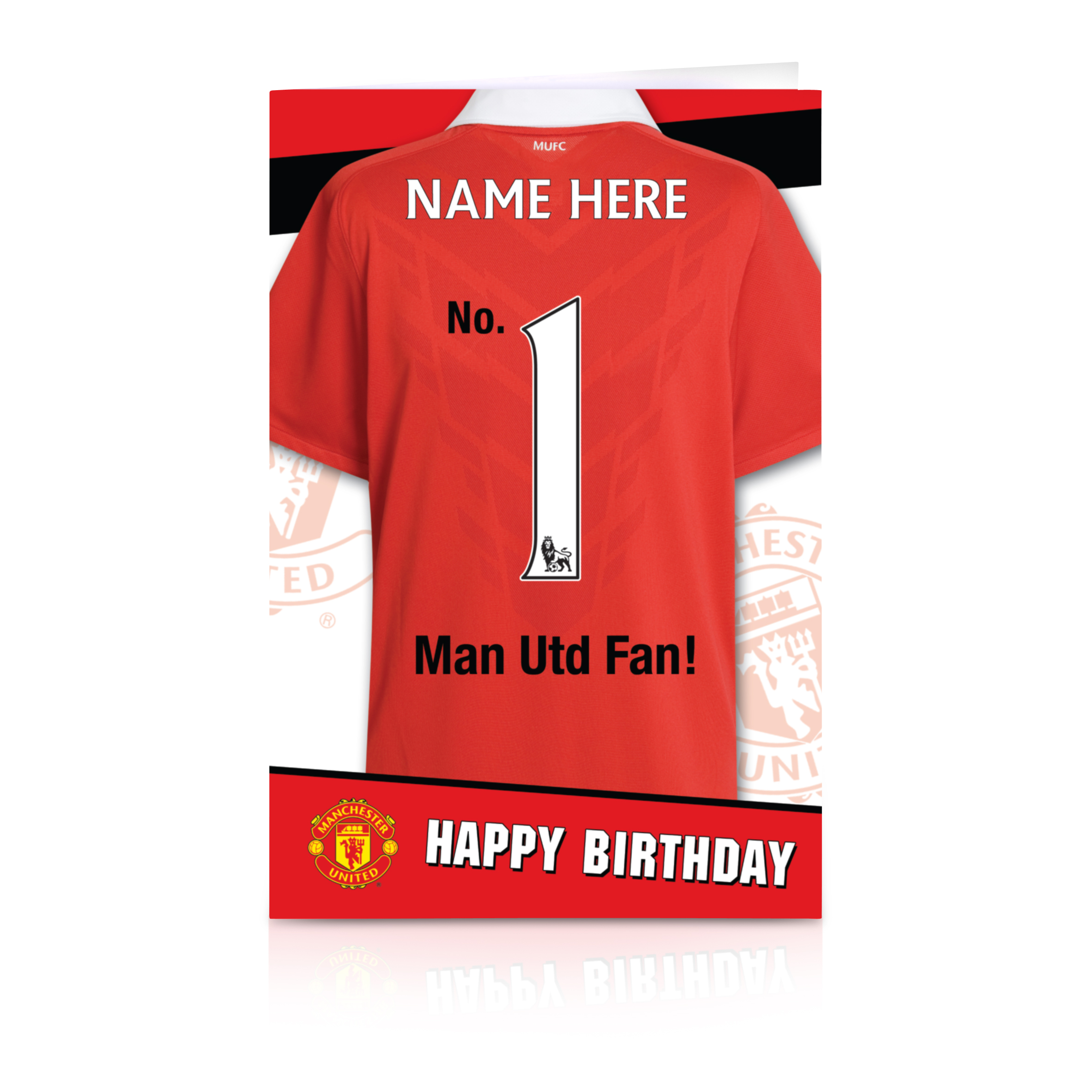 Manchester United Personalised Happy Birthday Card - No. 1 Fan!