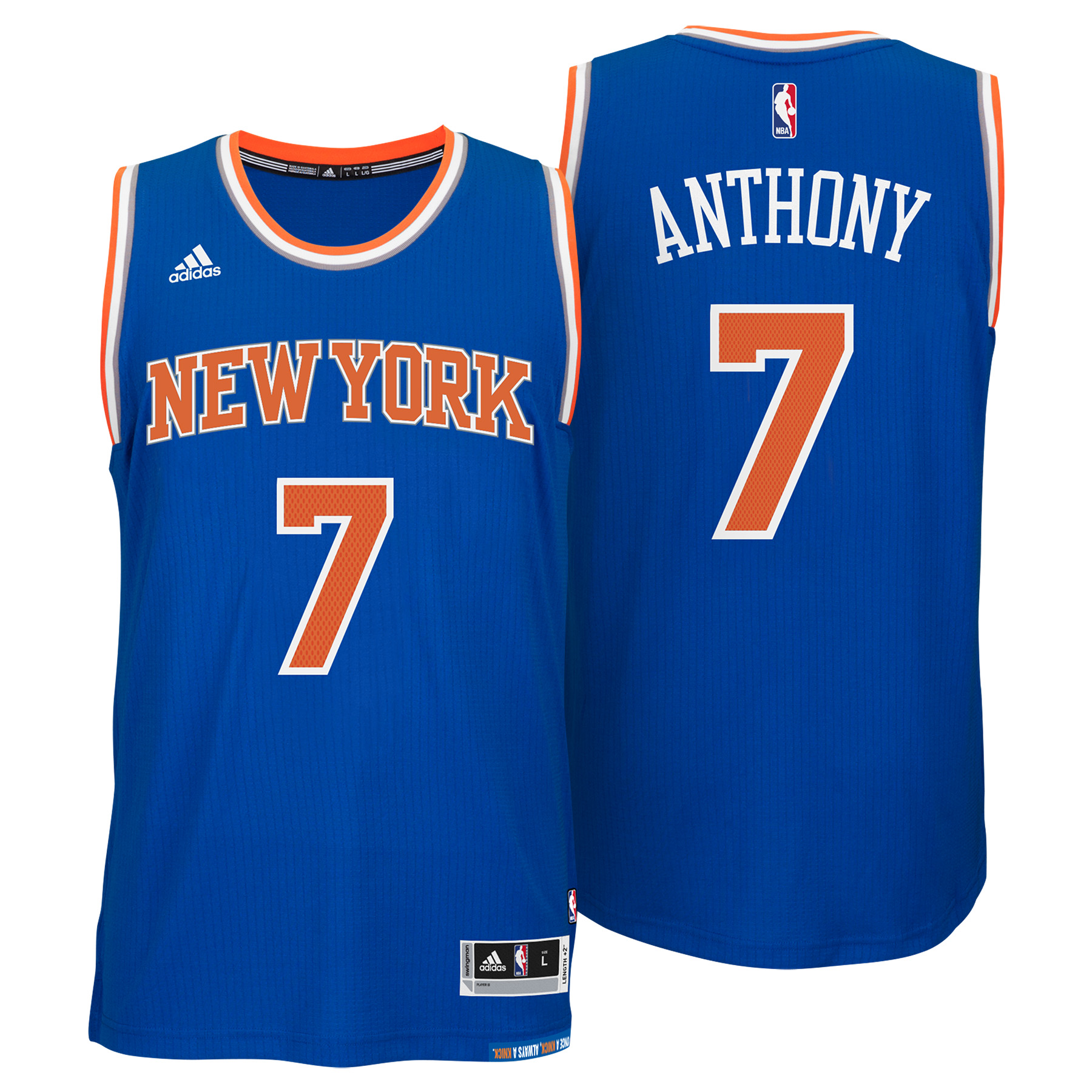 New York Knicks Road Swingman Jersey -Carmelo Anthony - Mens