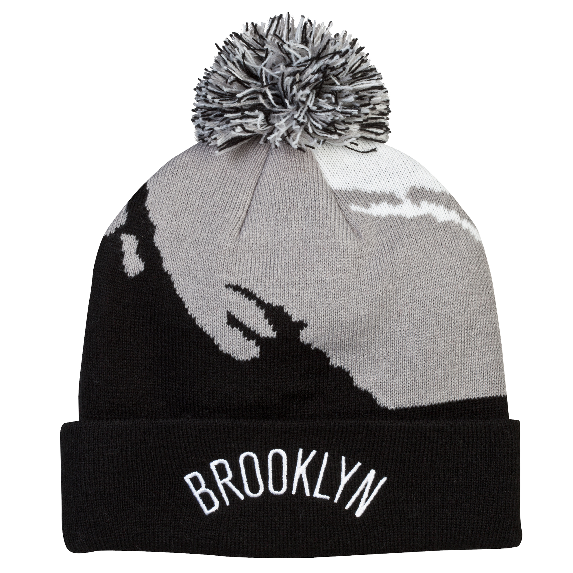 Brooklyn Nets Paintbrush Bobble Knit Hat Red