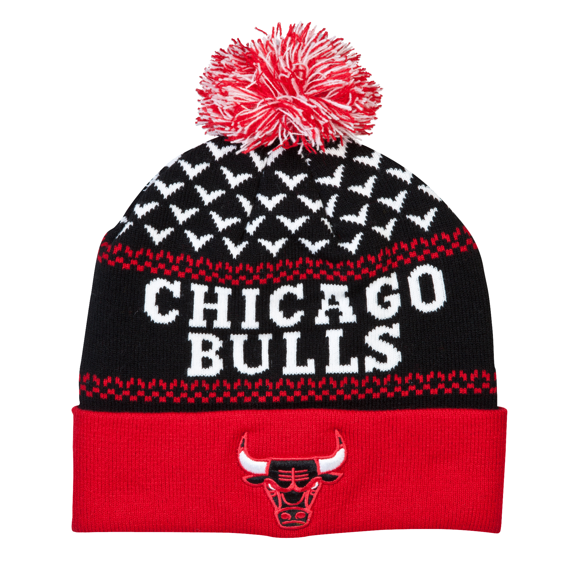 Chicago Bulls Nujacq Cuff Knit Bobble Hat Black