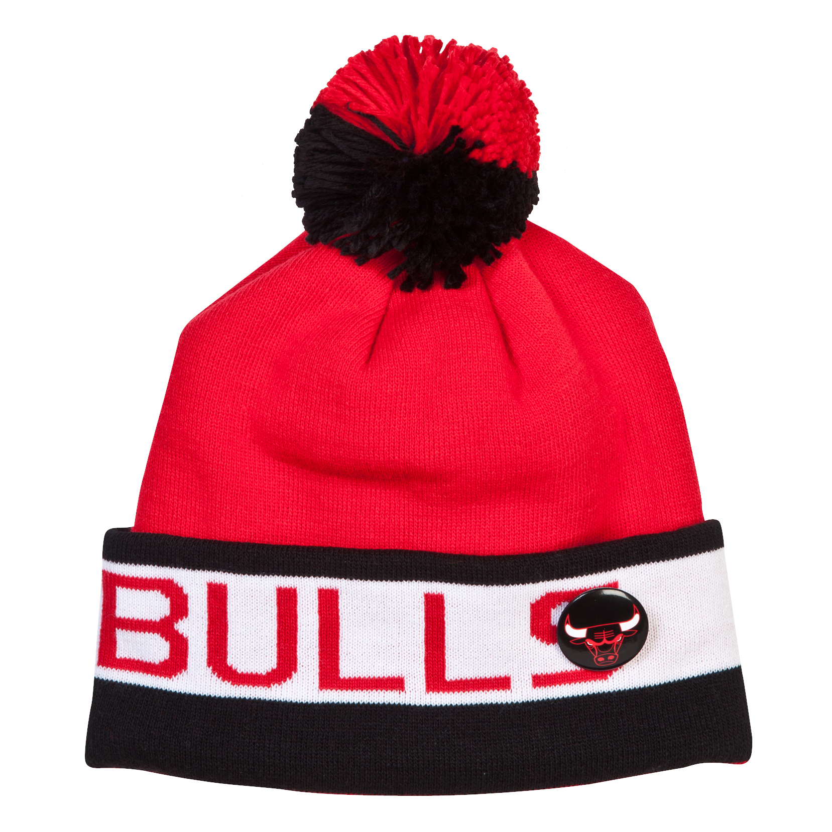 Chicago Bulls Vintage Block Cuffed Knit Bobble Hat Red
